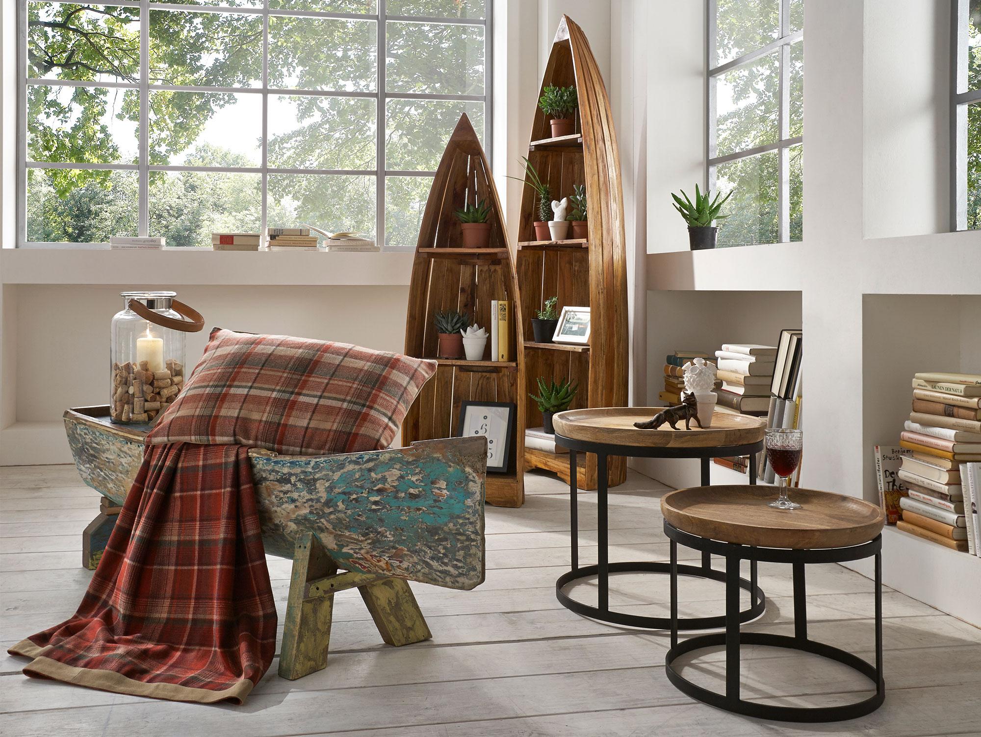 pabla beistelltische 2er set mango schwarz. Black Bedroom Furniture Sets. Home Design Ideas