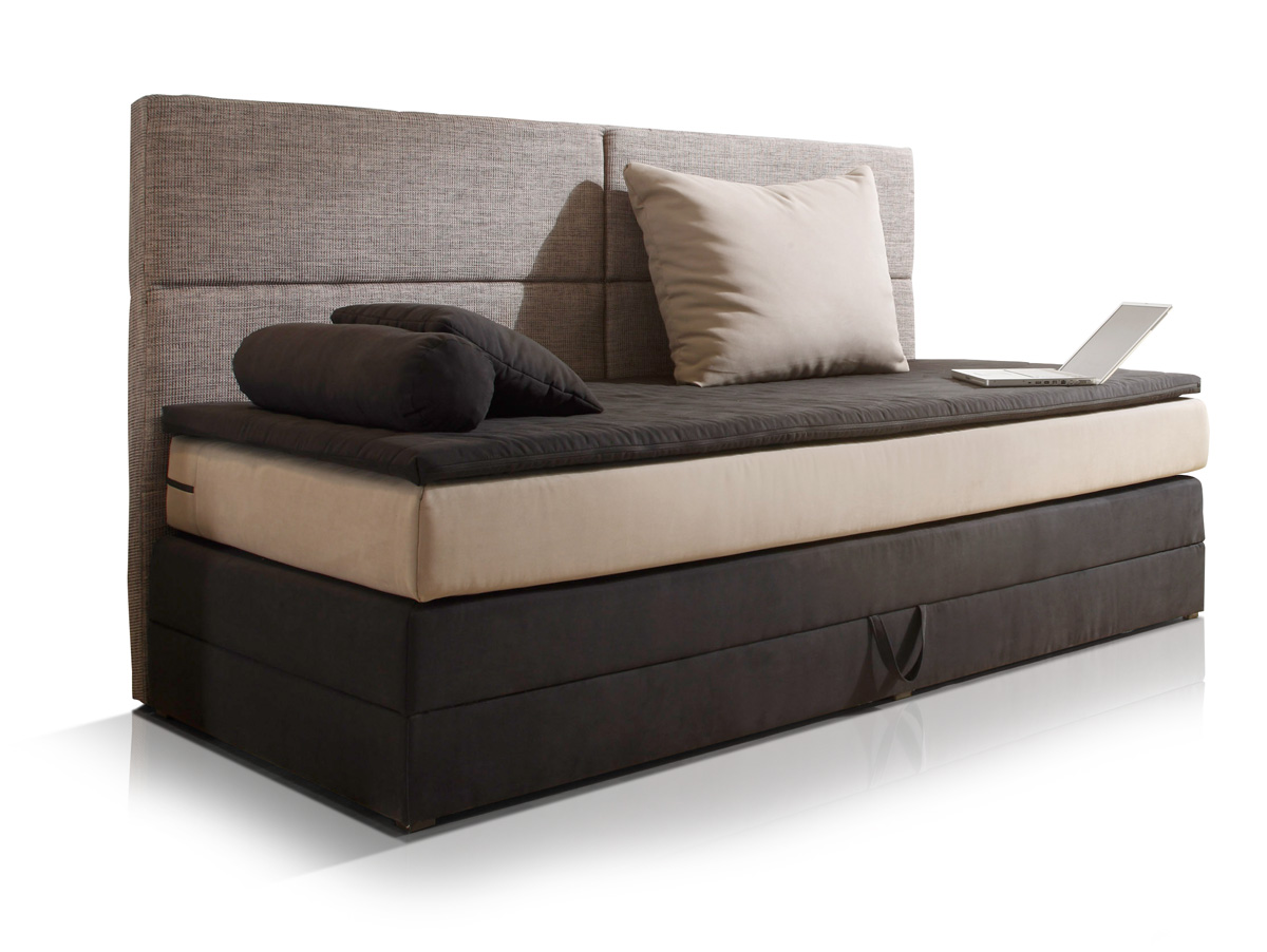 patron boxspringbett 90x200 cm schwarz braun beige. Black Bedroom Furniture Sets. Home Design Ideas