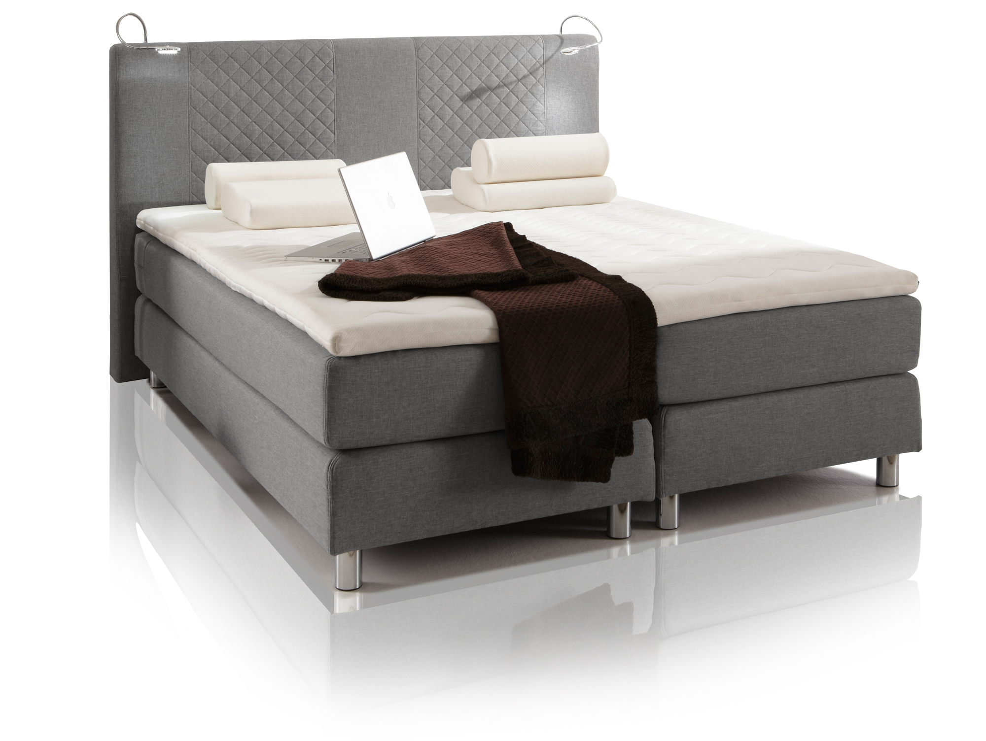 pasadena boxspringbett doppelbett 180 x 200 cm grau. Black Bedroom Furniture Sets. Home Design Ideas
