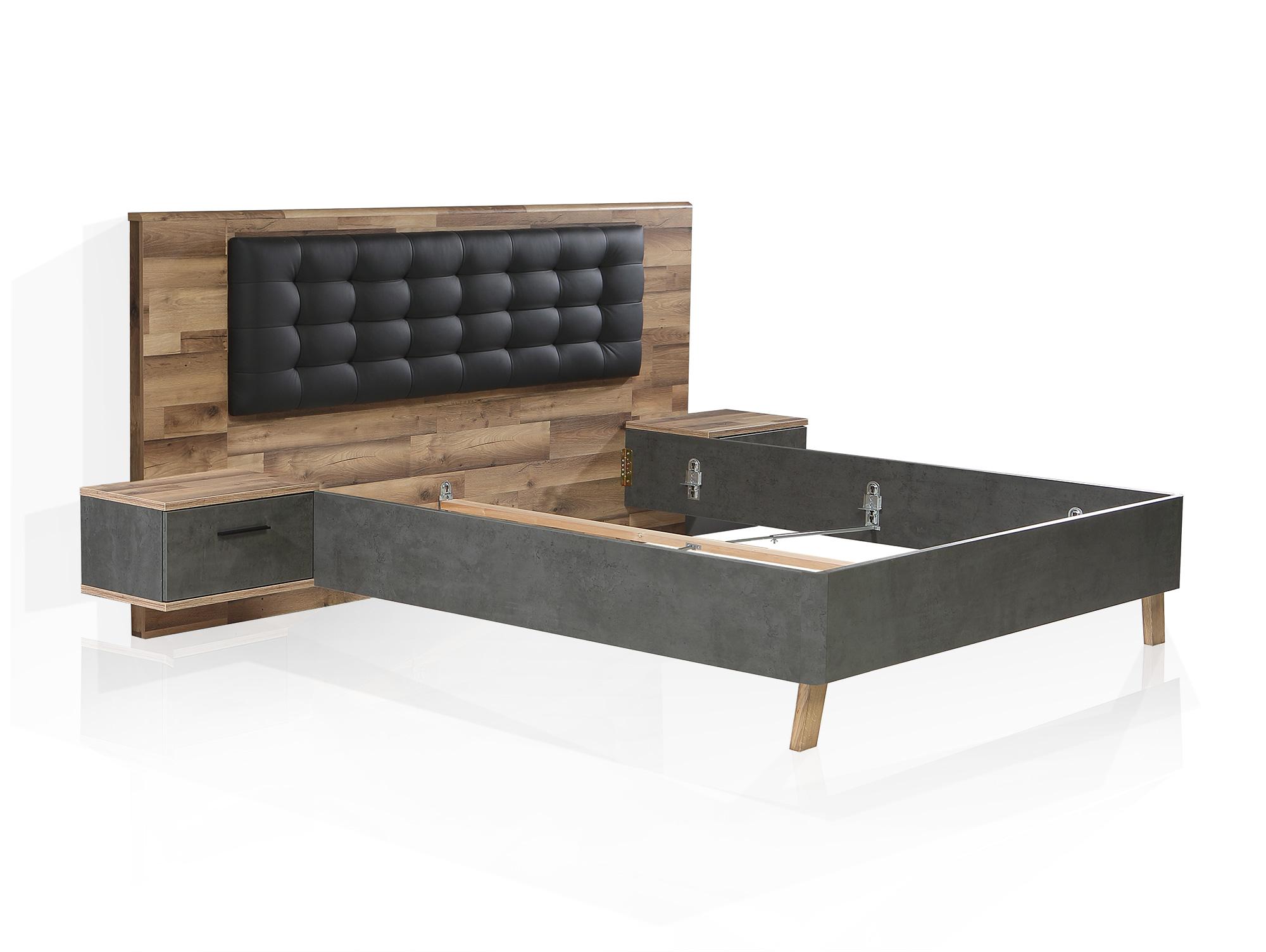 ... RICCANO Komplett Schlafzimmer II, Material Dekorspanplatte,  Stabeichefarbig/grau ...