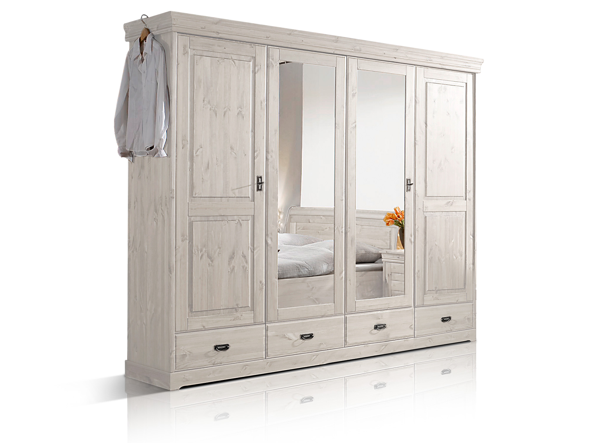 richard ii massivholz kleiderschrank kiefer 4 t rig kiefer weiss. Black Bedroom Furniture Sets. Home Design Ideas