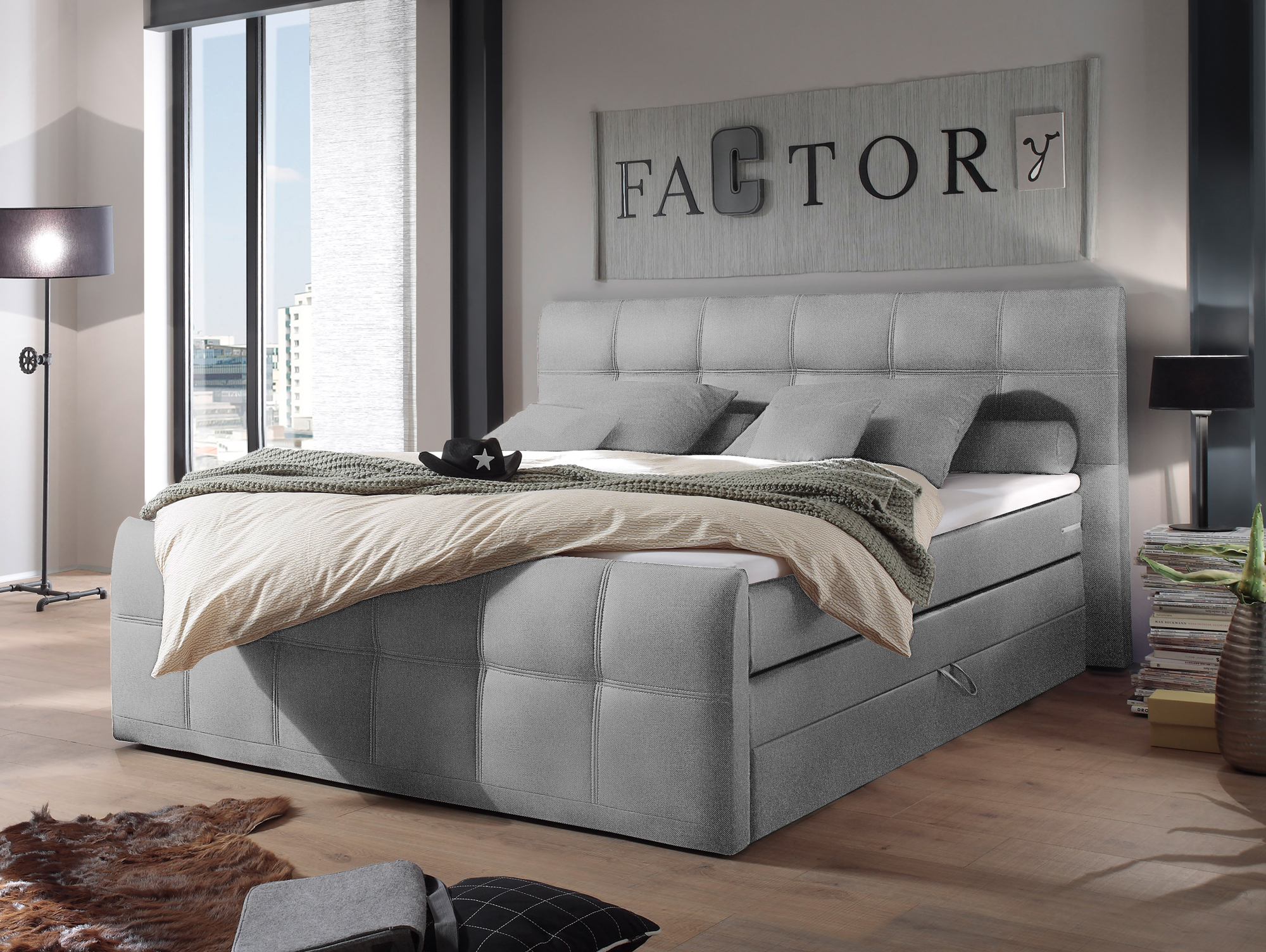 samara boxspringbett integrierter bettkasten 180x200 cm grau. Black Bedroom Furniture Sets. Home Design Ideas