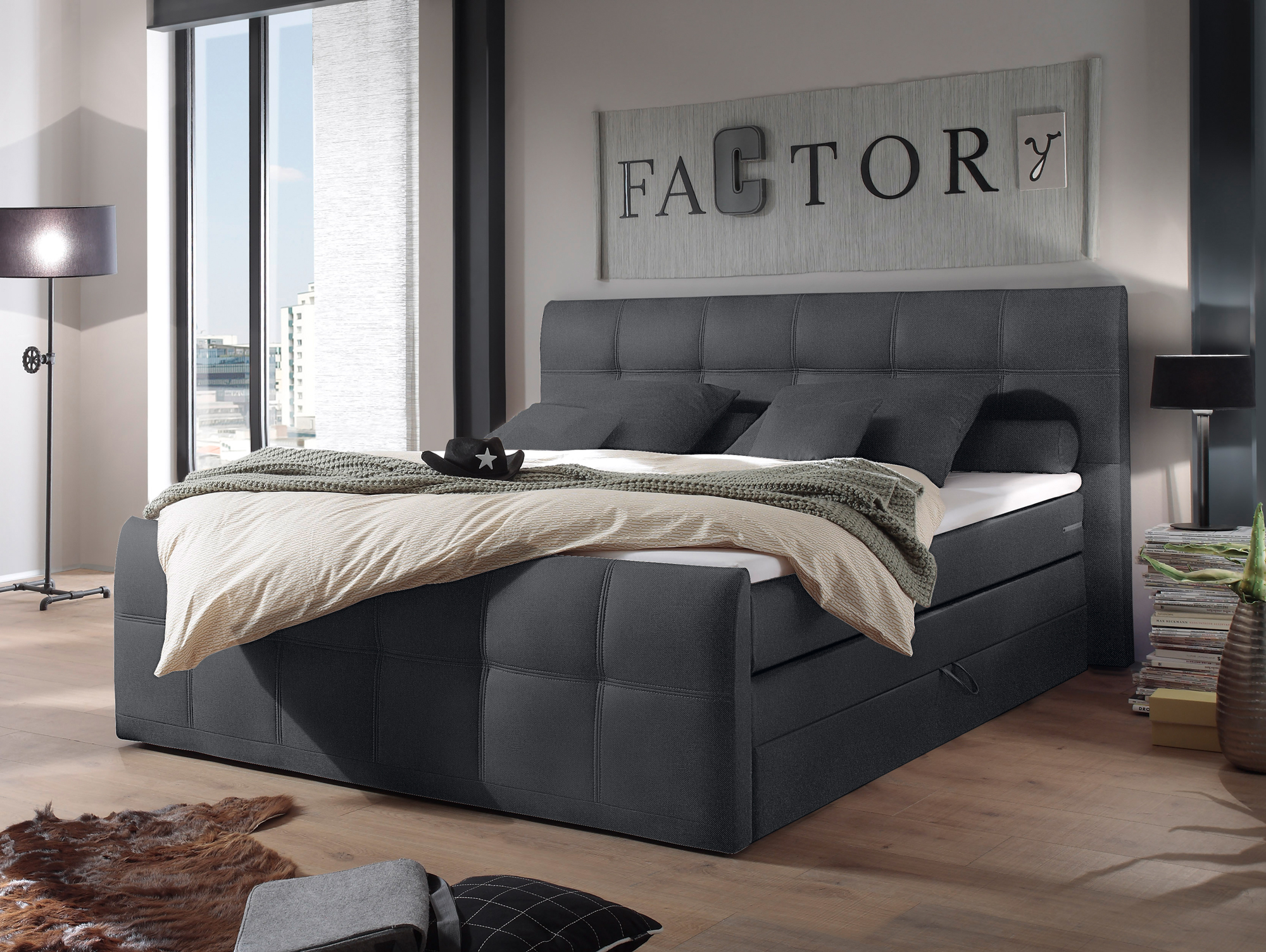 samara boxspringbett integrierter bettkasten 180x200 cm anthrazit. Black Bedroom Furniture Sets. Home Design Ideas