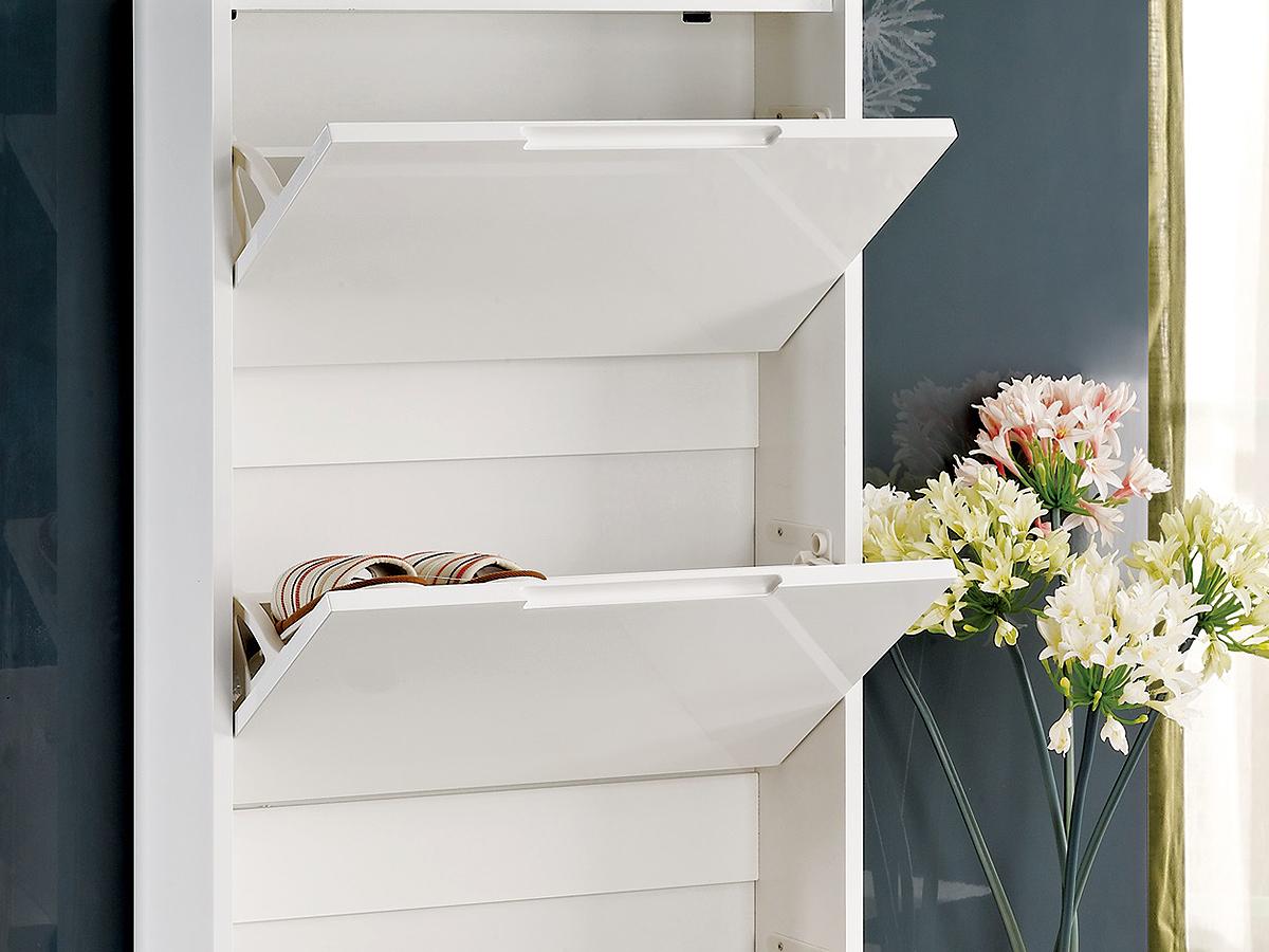 schuhkipper wei hochglanz 4 boxen. Black Bedroom Furniture Sets. Home Design Ideas