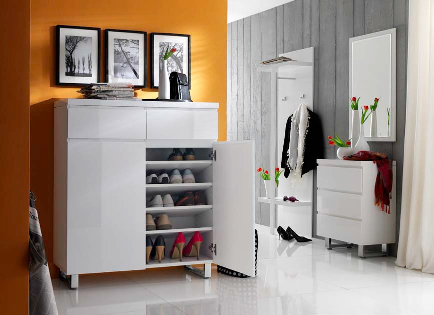 sintia schuhschrank mit 1 schubkasten 2 t ren hochglanz weiss. Black Bedroom Furniture Sets. Home Design Ideas