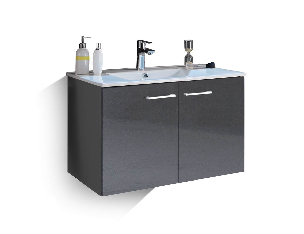 sunny waschtisch inkl becken mit zwei t ren grau. Black Bedroom Furniture Sets. Home Design Ideas