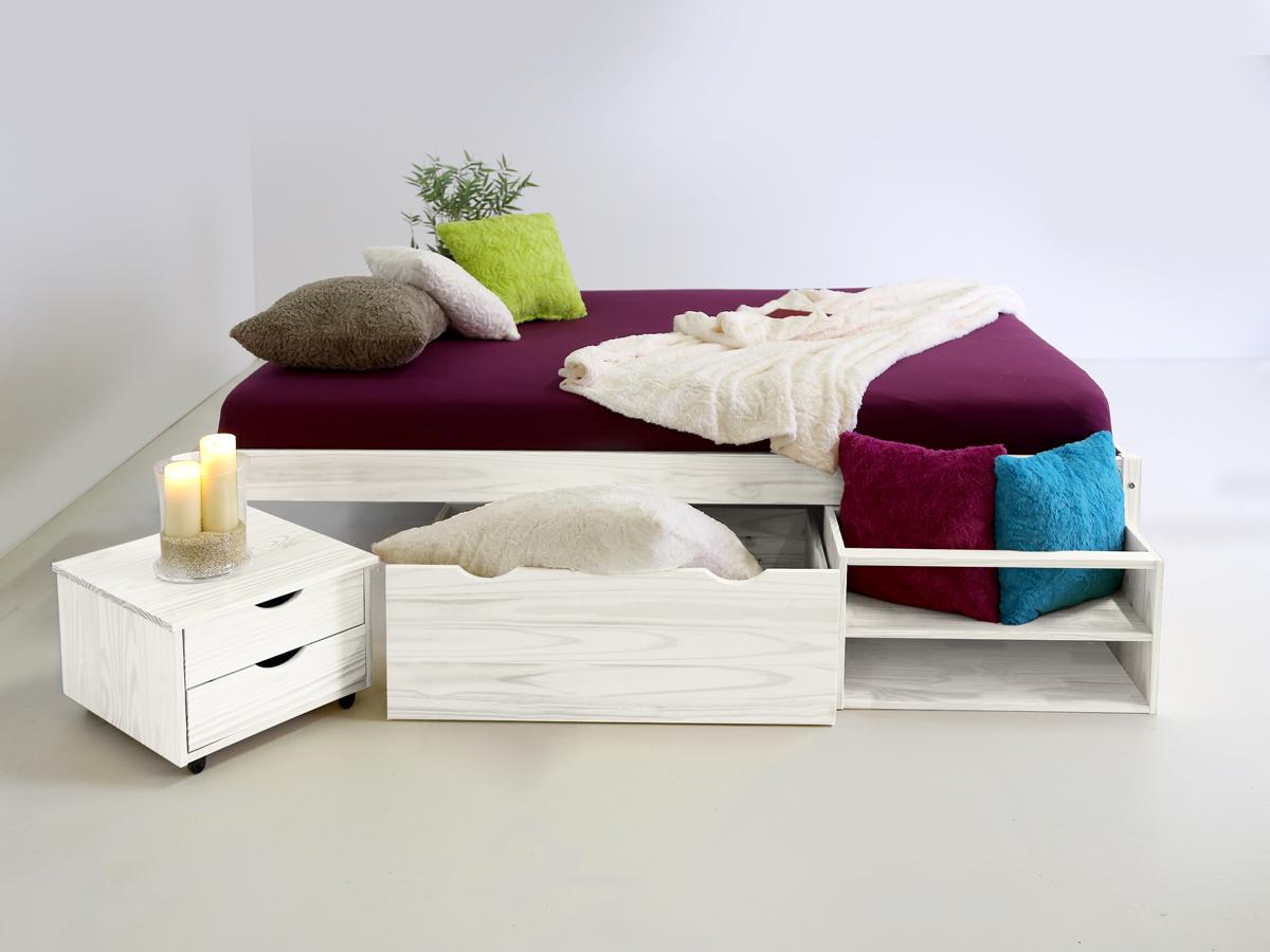 Funktionsbett 140x200 mit lattenrost und matratze  TILO Funktionsbett Kiefer massiv weiß 180 cm
