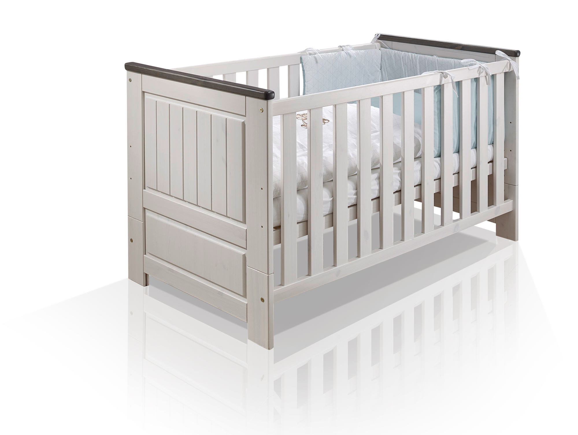 tinka babybett 70x140 cm kiefer weiss grau. Black Bedroom Furniture Sets. Home Design Ideas