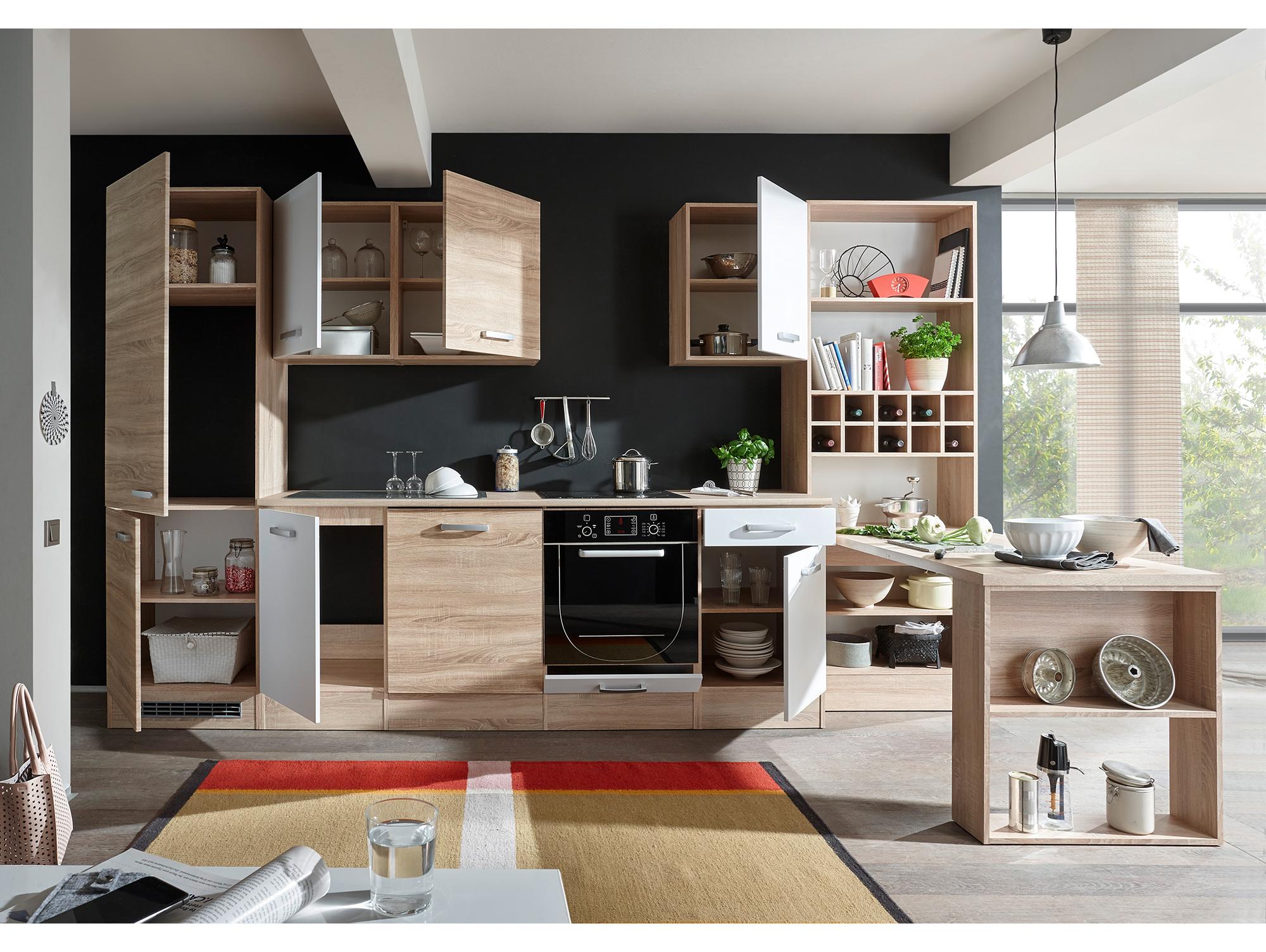 vino komplett k che dekor eiche sonoma wei inkl regal. Black Bedroom Furniture Sets. Home Design Ideas
