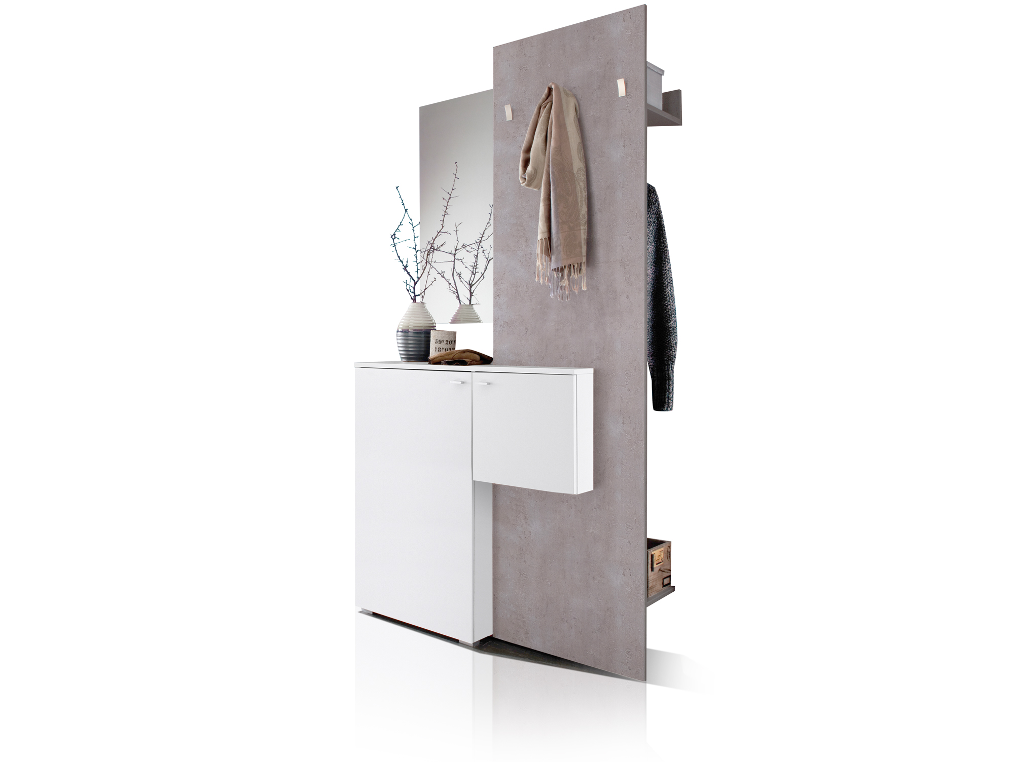 zarah komplett garderobe weiss betongrau. Black Bedroom Furniture Sets. Home Design Ideas