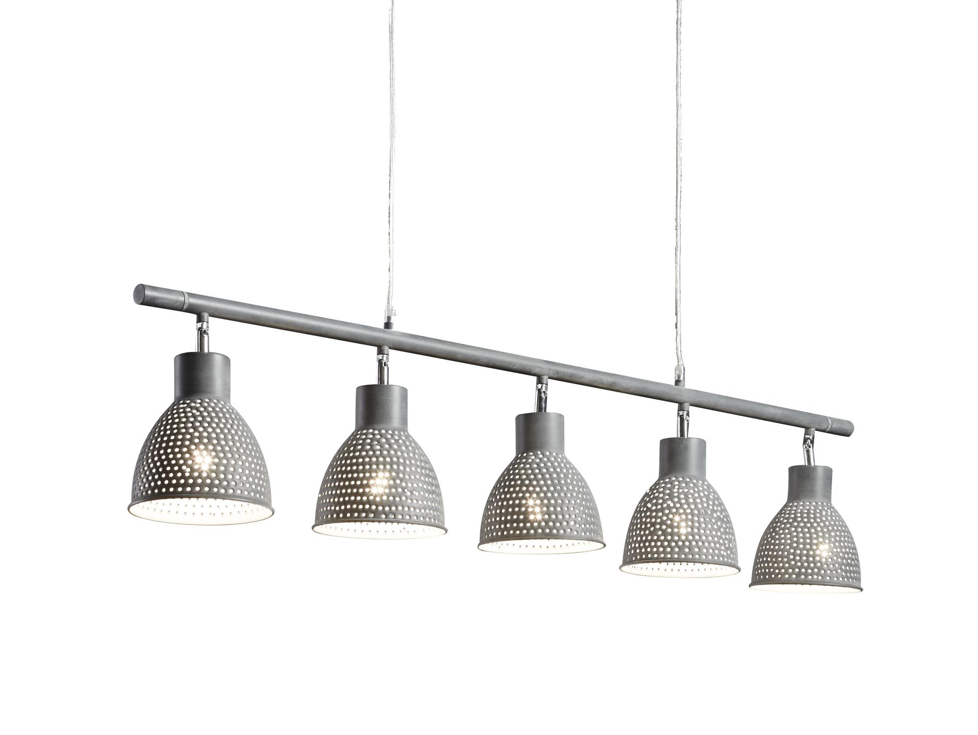 iron h ngelampe mit 5 lampen grau. Black Bedroom Furniture Sets. Home Design Ideas