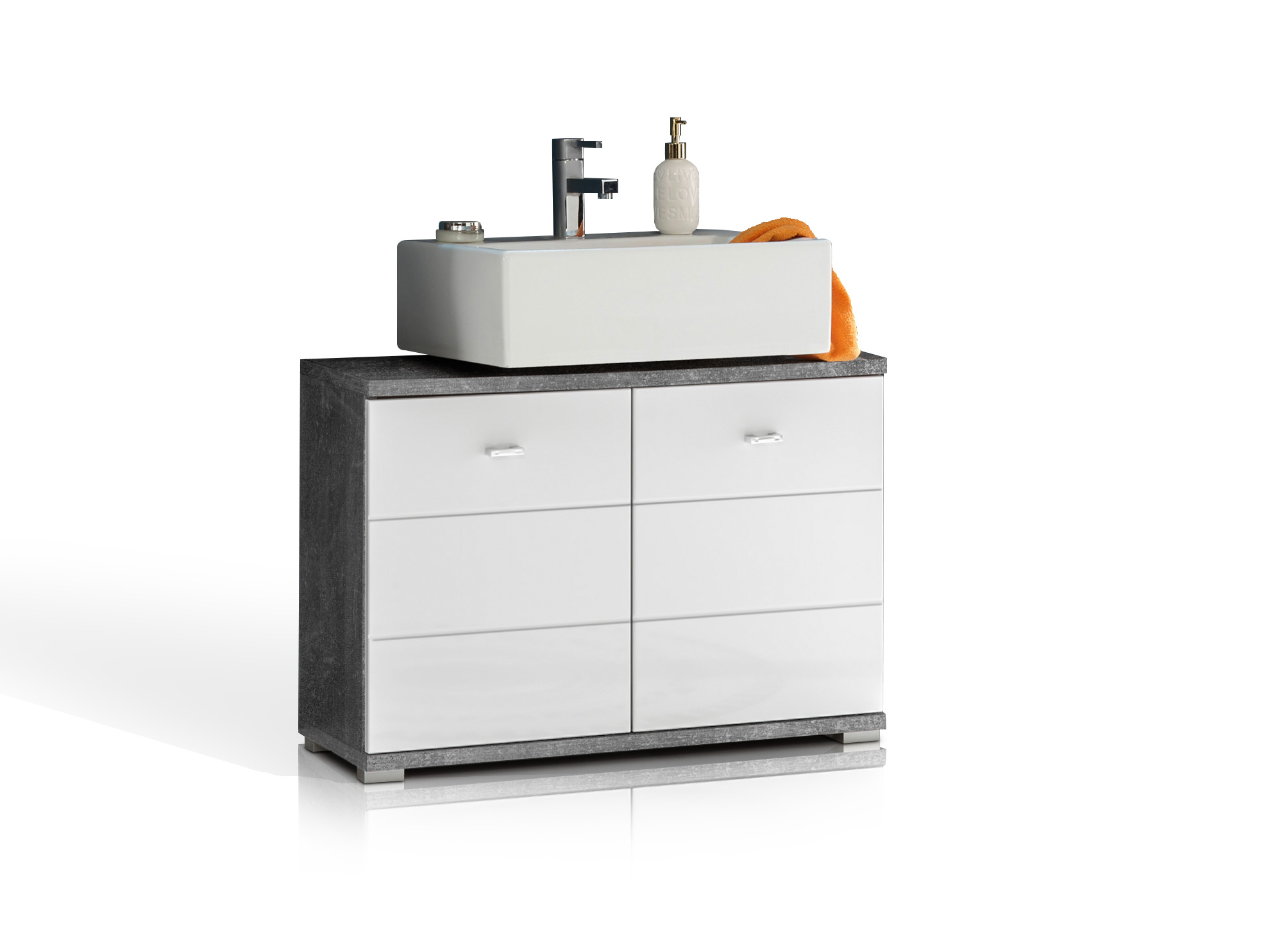 PABLO Waschbeckenunterschrank Beton/weiß