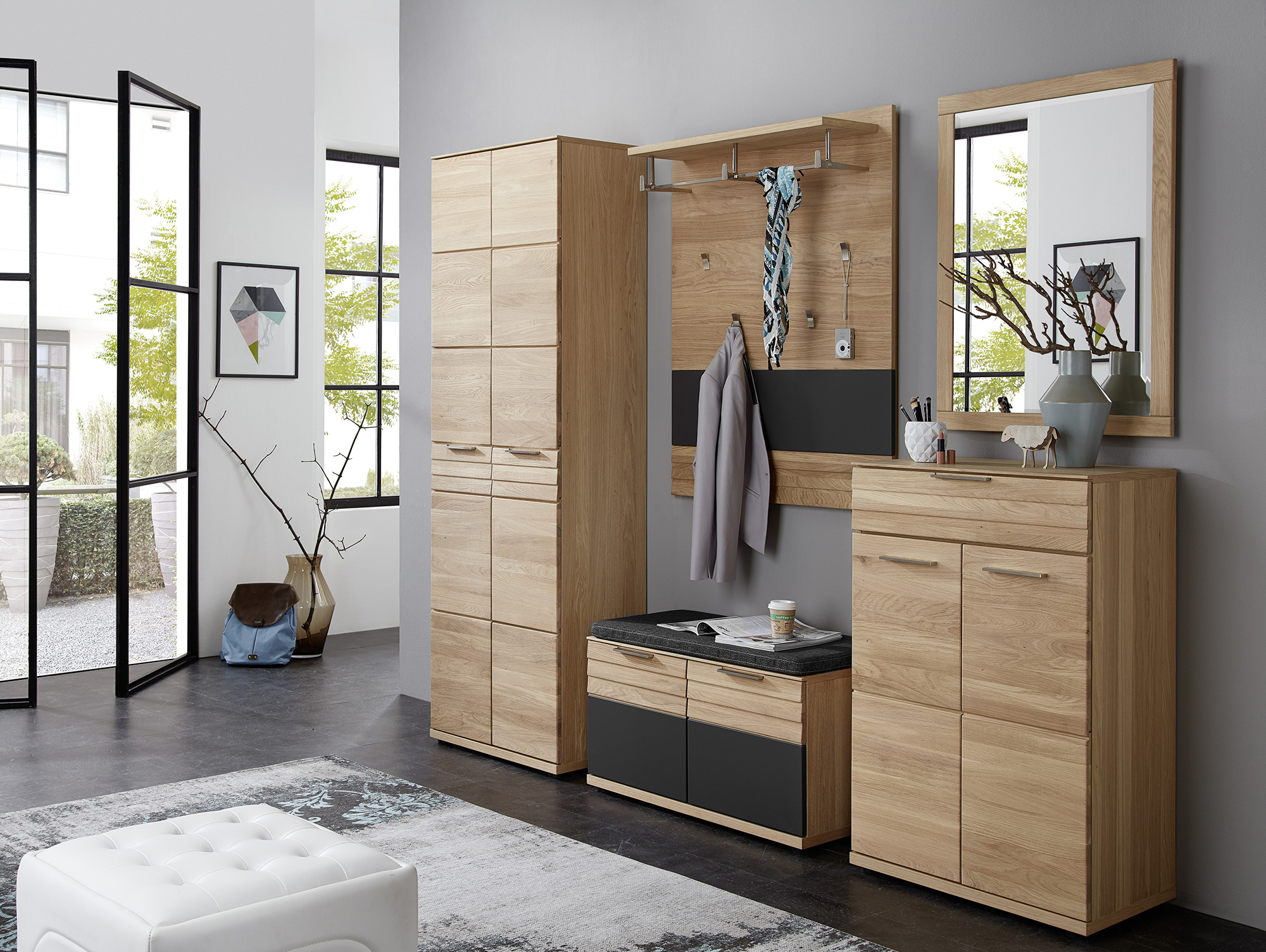 ambar garderobensitzbank klein wildeiche teilmassiv. Black Bedroom Furniture Sets. Home Design Ideas