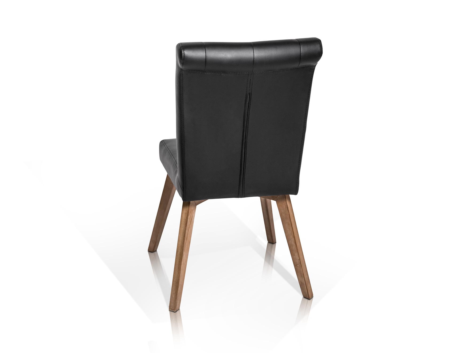 canu polsterstuhl rubberwood kunstleder schwarz. Black Bedroom Furniture Sets. Home Design Ideas