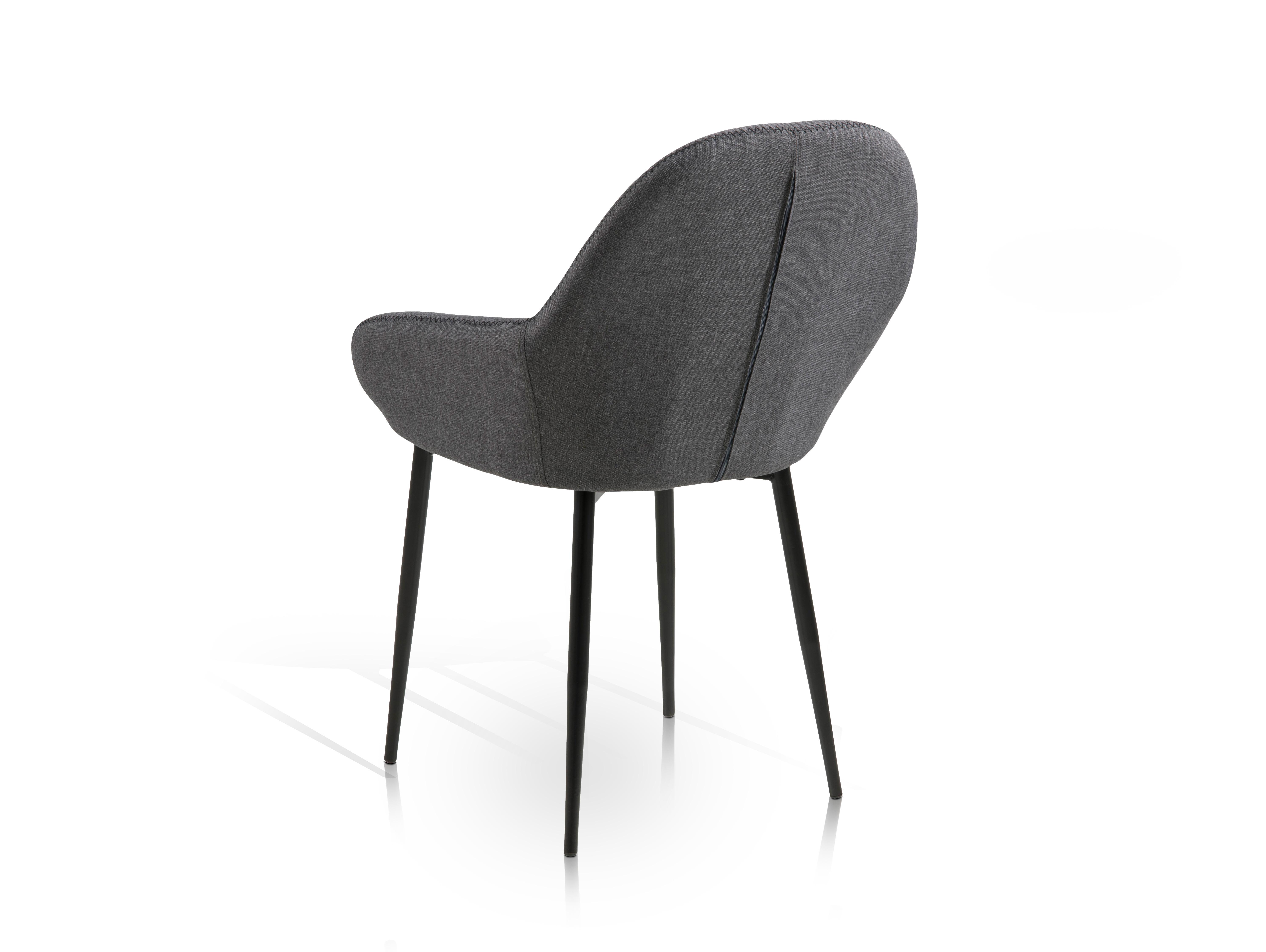 Cardy schalenstuhl gestell schwarz stoffbezug grau for Schalenstuhl schwarz
