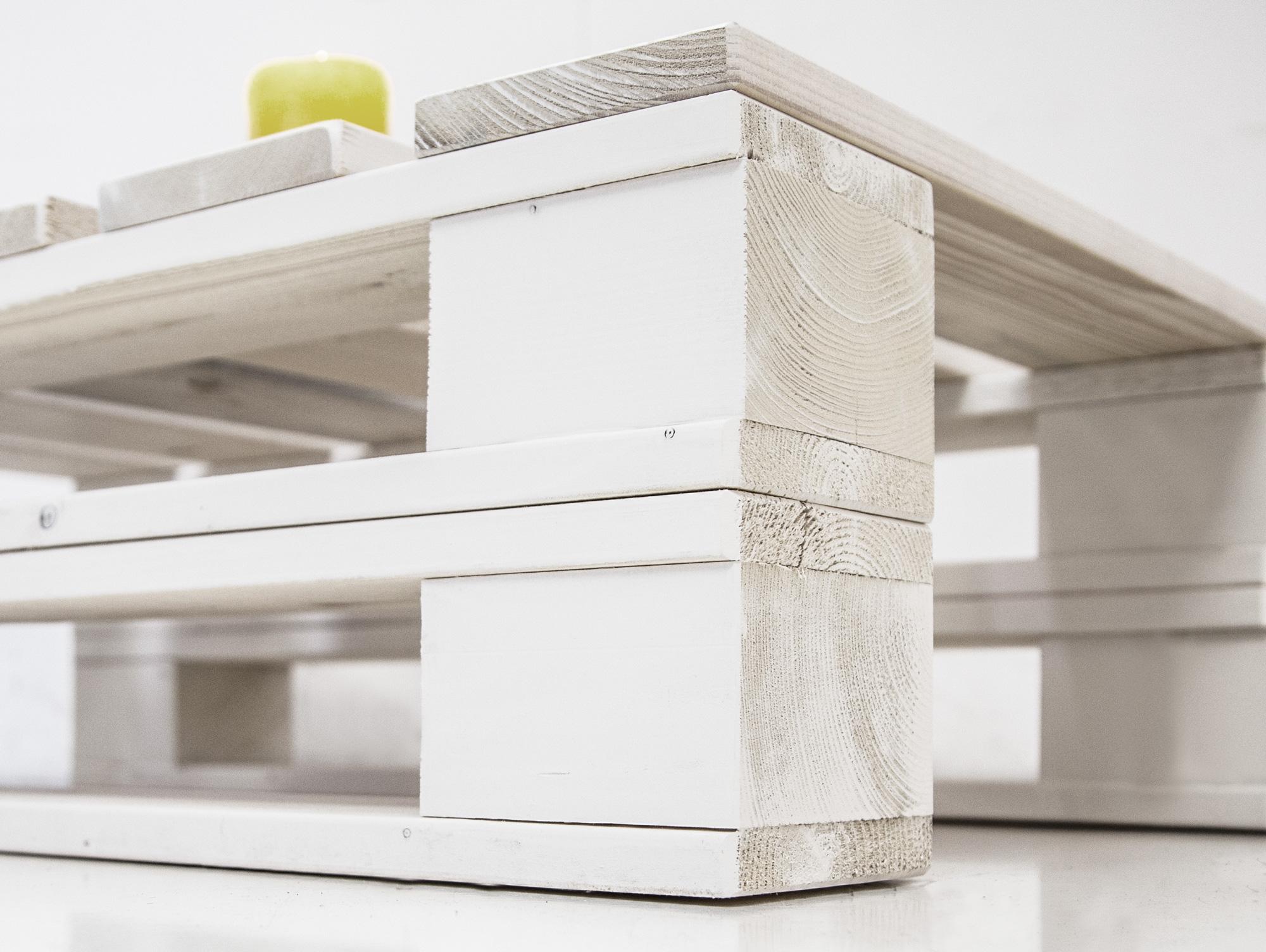 paletti duo couchtisch i aus paletten 60x90 cm weiss lackiert. Black Bedroom Furniture Sets. Home Design Ideas