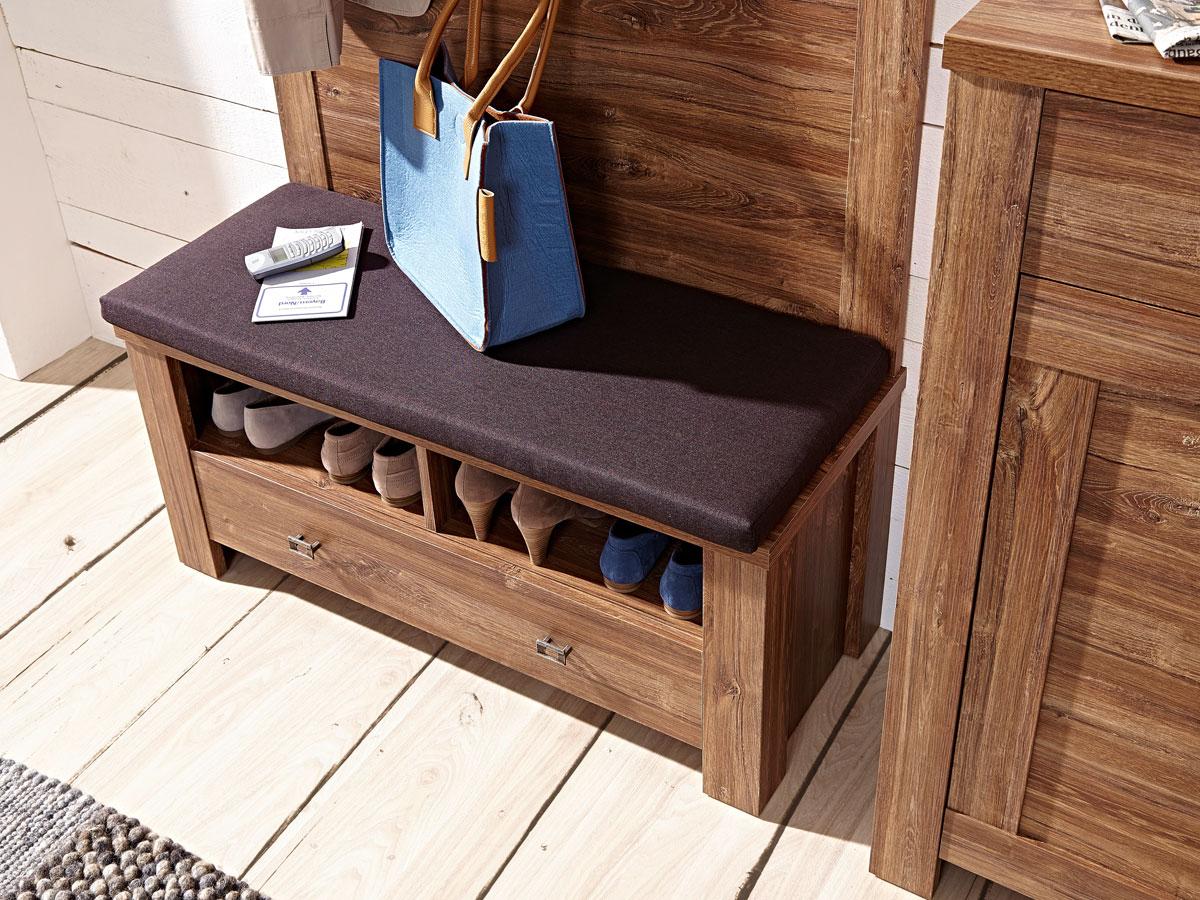 bern bank sitzbank akazie dunkel mit kissen braun. Black Bedroom Furniture Sets. Home Design Ideas