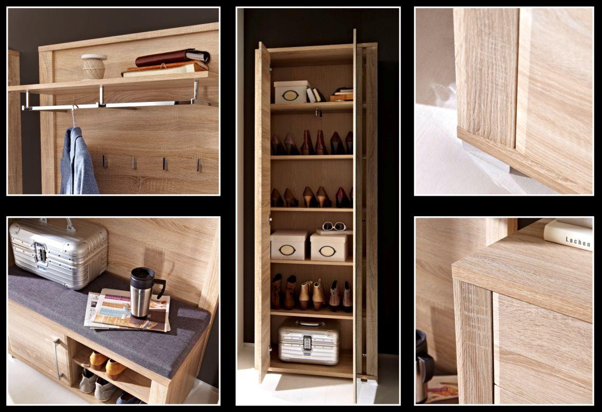 grande bank sonoma eiche hell inkl sitzkissen grau. Black Bedroom Furniture Sets. Home Design Ideas