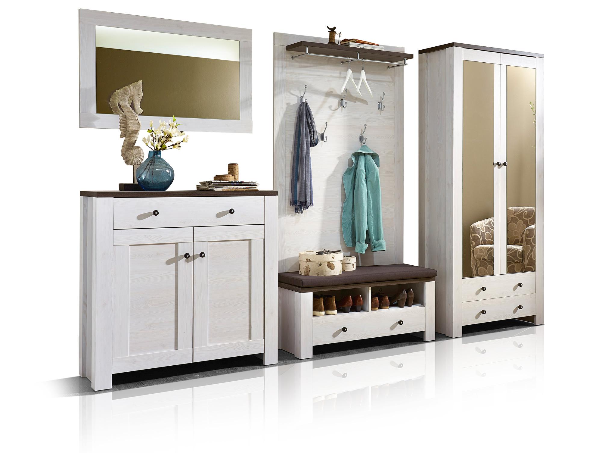 antwerpen garderobenset i l rche pinie dunkel. Black Bedroom Furniture Sets. Home Design Ideas