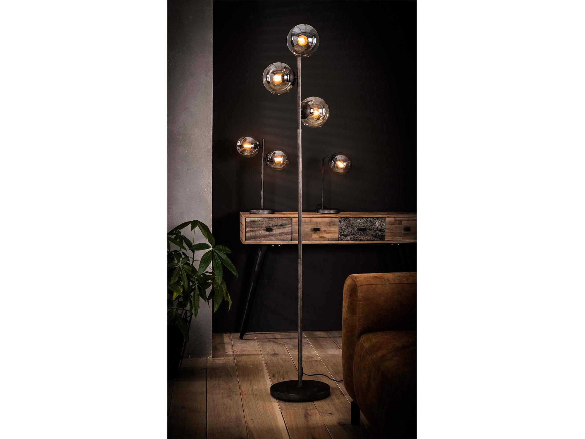 marim stehlampe schwarz mit 3 glaskugeln. Black Bedroom Furniture Sets. Home Design Ideas
