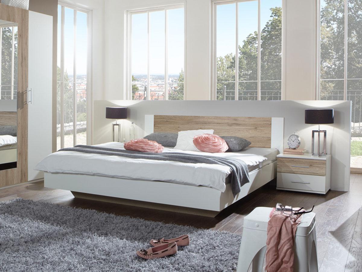 flores i komplett schlafzimmer 160 x 200 cm weiss sanremo eiche. Black Bedroom Furniture Sets. Home Design Ideas