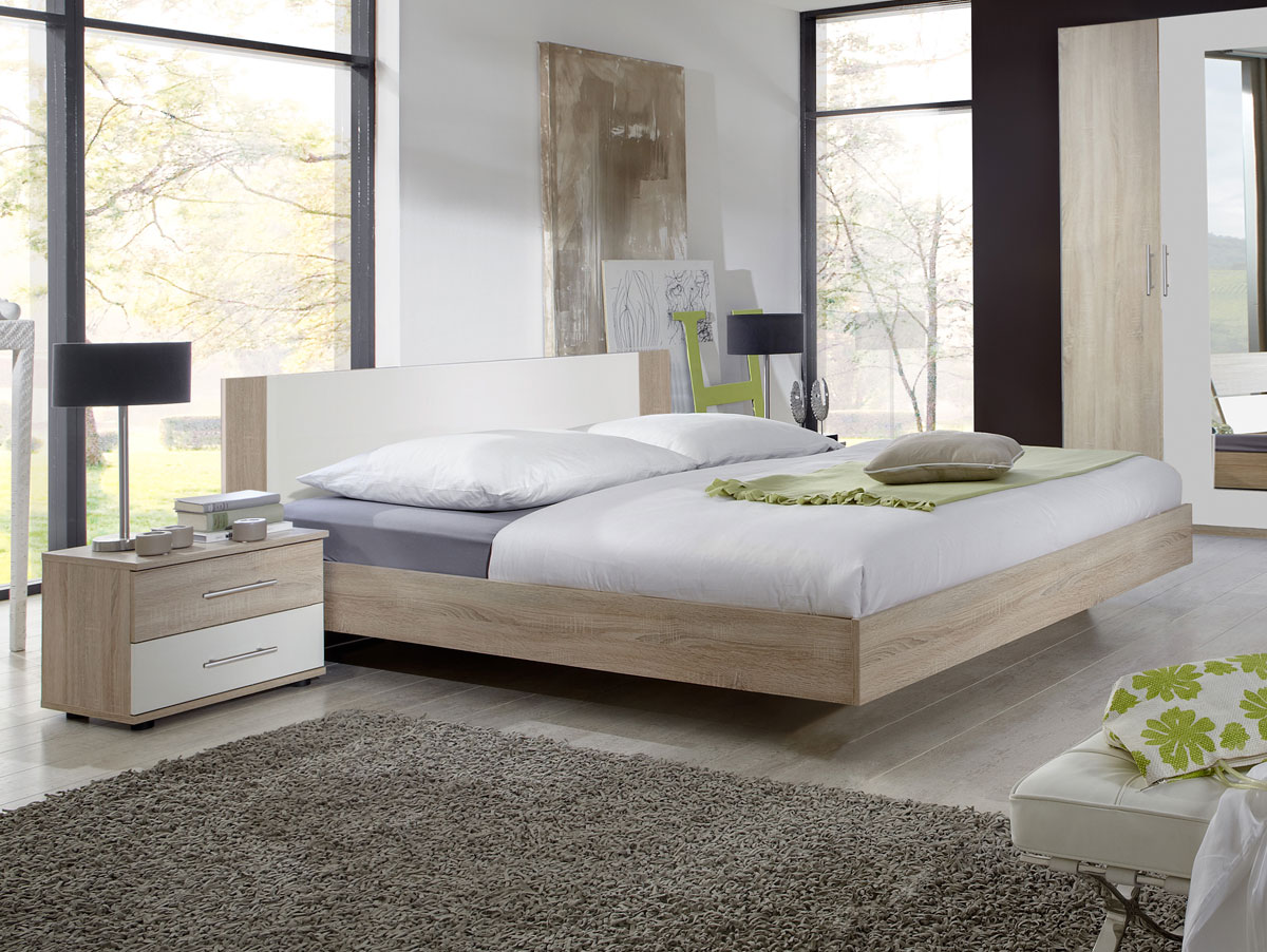 flores i komplett schlafzimmer 160 x 200 cm eiche s gerau weiss. Black Bedroom Furniture Sets. Home Design Ideas