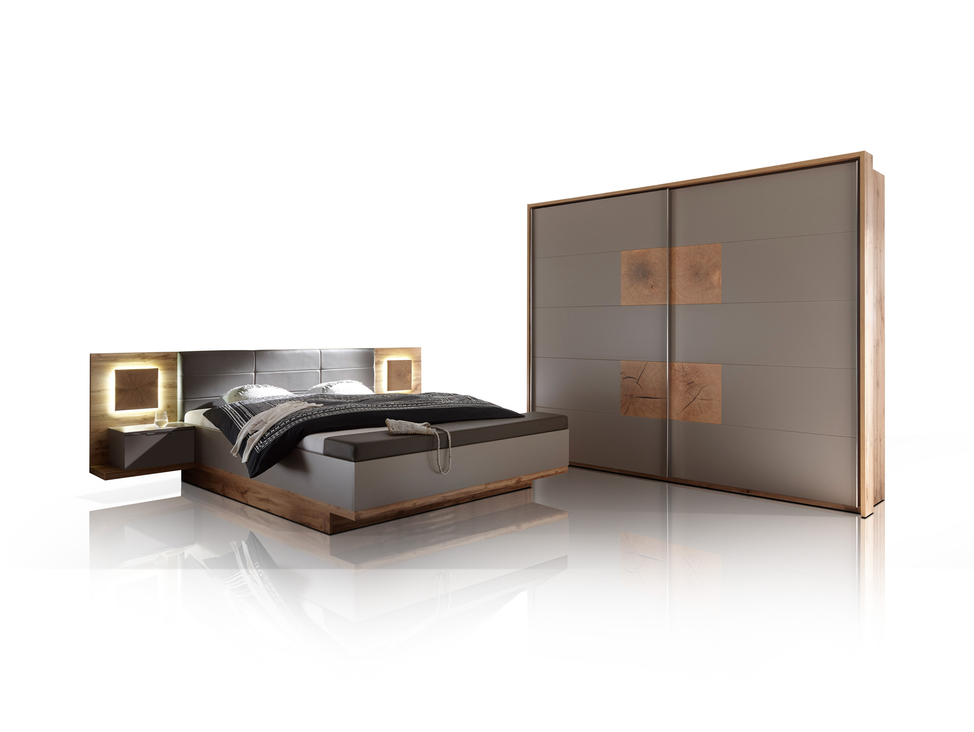 cameron i schlafzimmer inkl nakos wildeiche basaltgrau. Black Bedroom Furniture Sets. Home Design Ideas