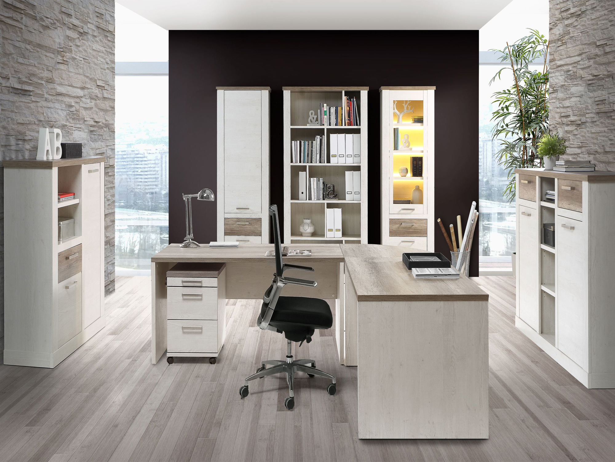 regal mit t r dario pinie wei eiche antik. Black Bedroom Furniture Sets. Home Design Ideas