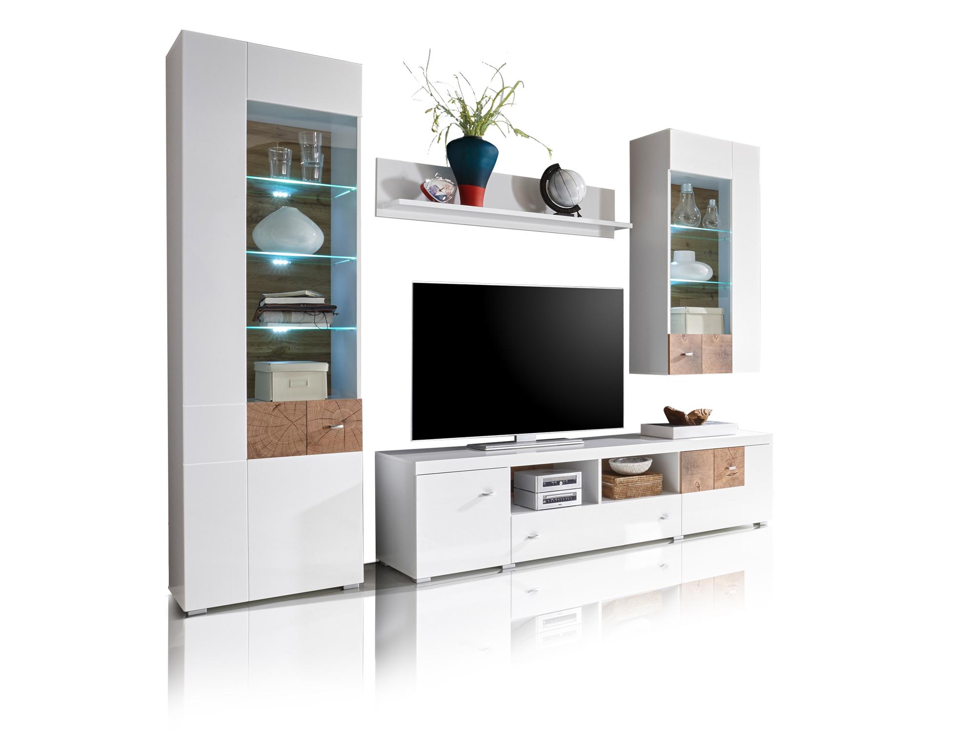 falka wohnwand wei hirnholz. Black Bedroom Furniture Sets. Home Design Ideas