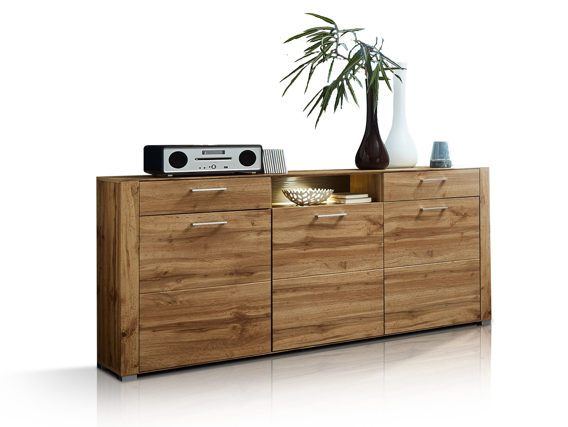 florin sideboard eiche altholz mdf mit beleuchtung. Black Bedroom Furniture Sets. Home Design Ideas