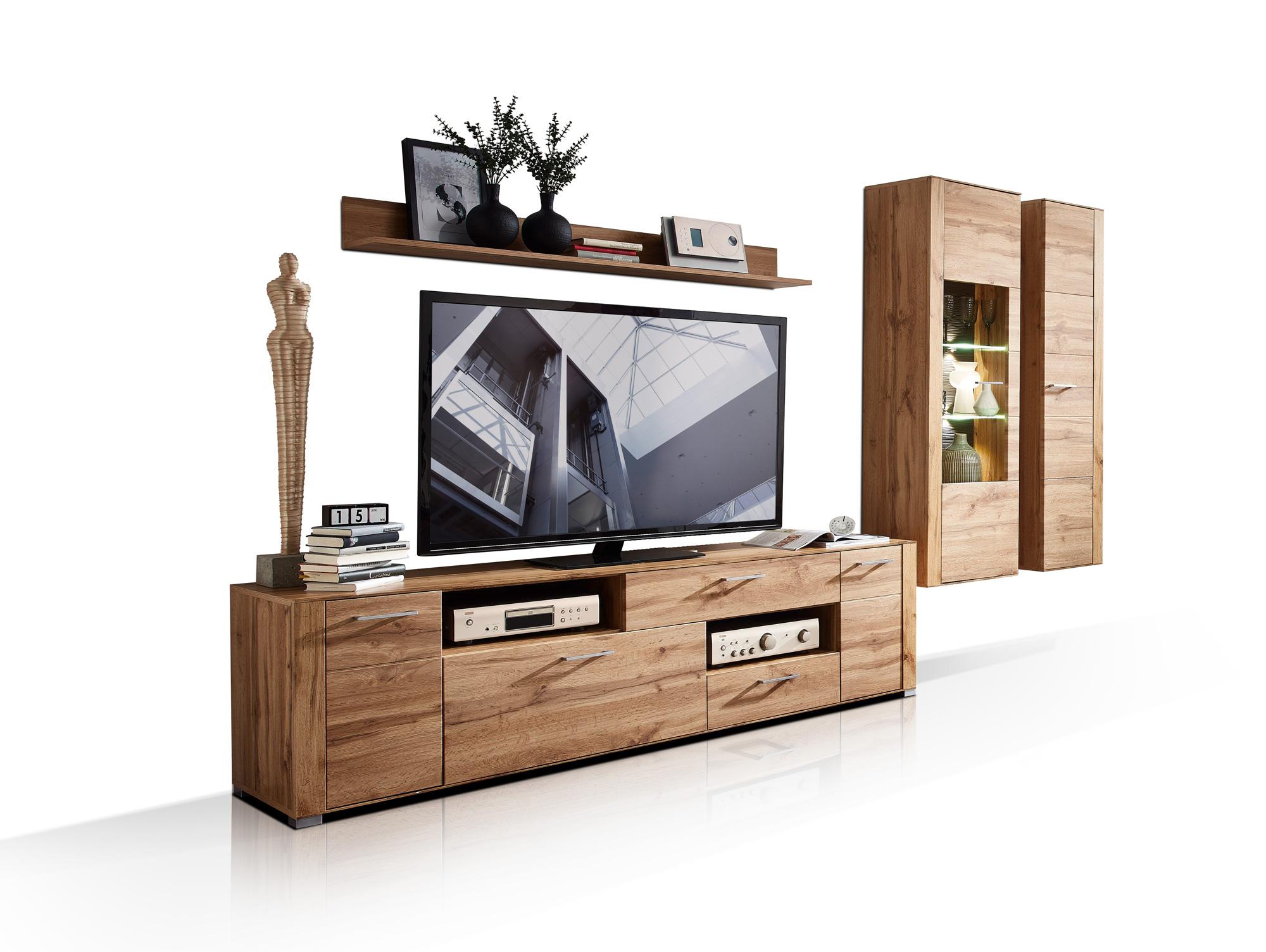 fly wohnwand eiche altholz mdf. Black Bedroom Furniture Sets. Home Design Ideas