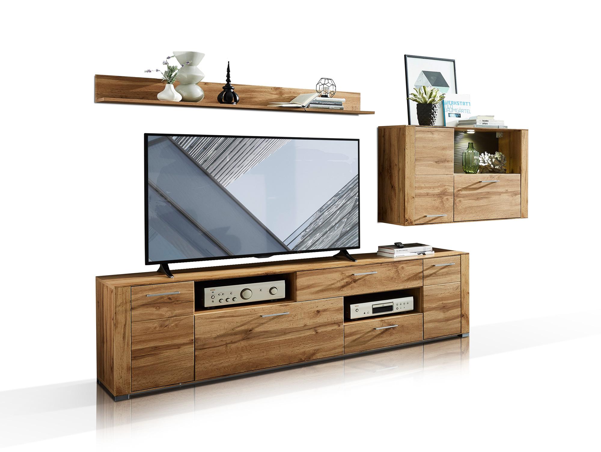 fly i wohnwand eiche altholz mdf. Black Bedroom Furniture Sets. Home Design Ideas