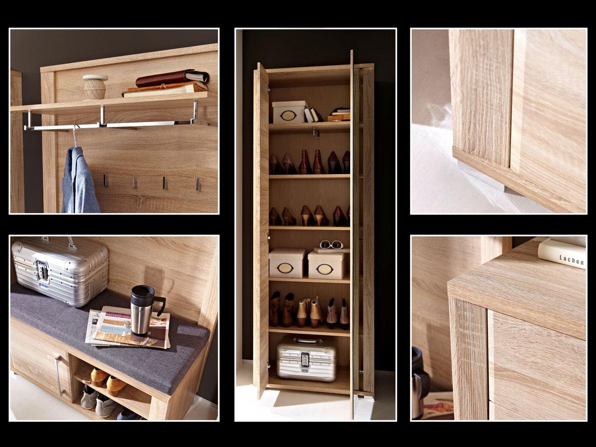 grande garderobenschrank sonoma eiche hell. Black Bedroom Furniture Sets. Home Design Ideas