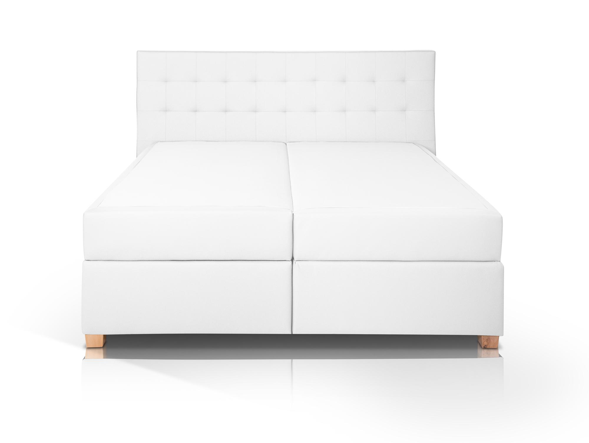 ida boxspringbett kunstleder mit bettkasten 160 x 200 cm weiss h rtegrad 2. Black Bedroom Furniture Sets. Home Design Ideas