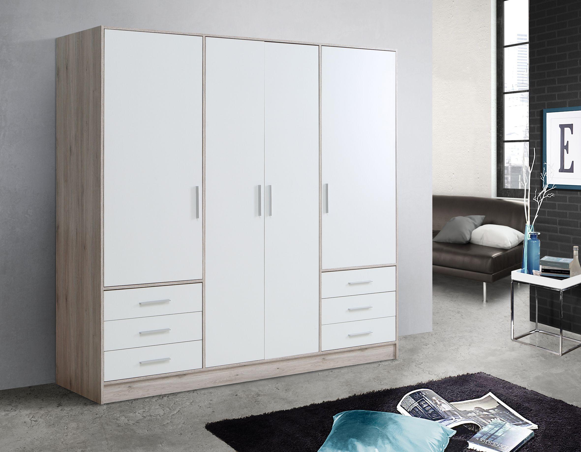 jami kleiderschrank 4 trg mit 6 schubk sten material dekorspanplatte sandeichefarbig weiss. Black Bedroom Furniture Sets. Home Design Ideas