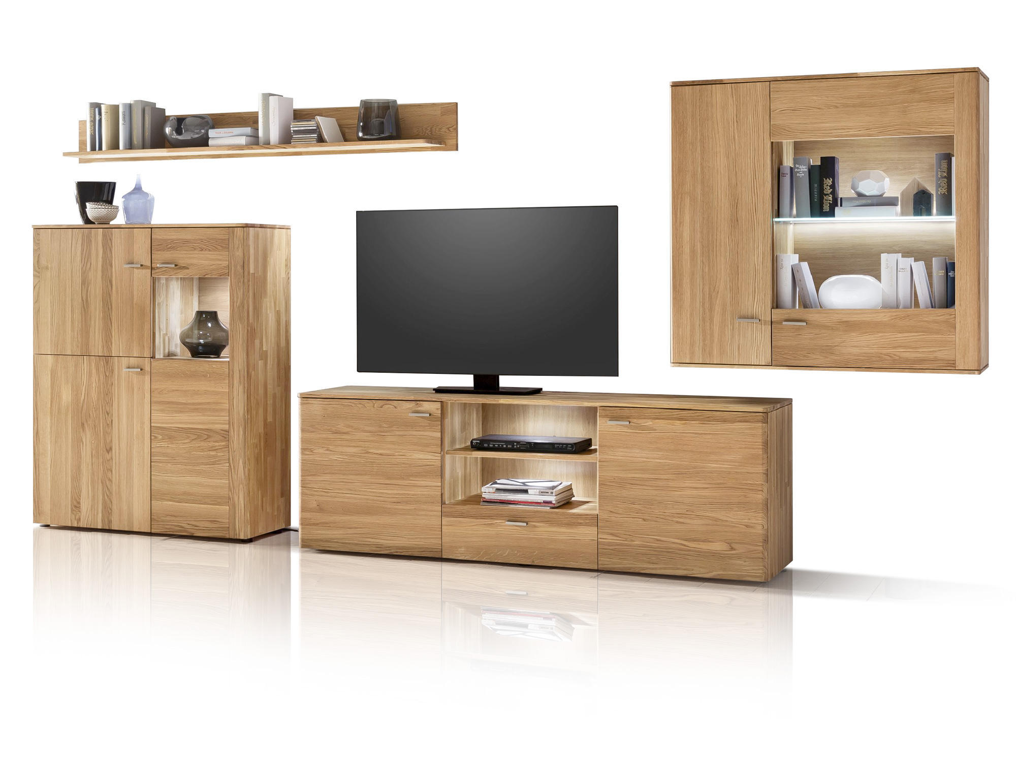 kanton komplette wohnwand massivholz kernbuche ohne beleuchtung. Black Bedroom Furniture Sets. Home Design Ideas