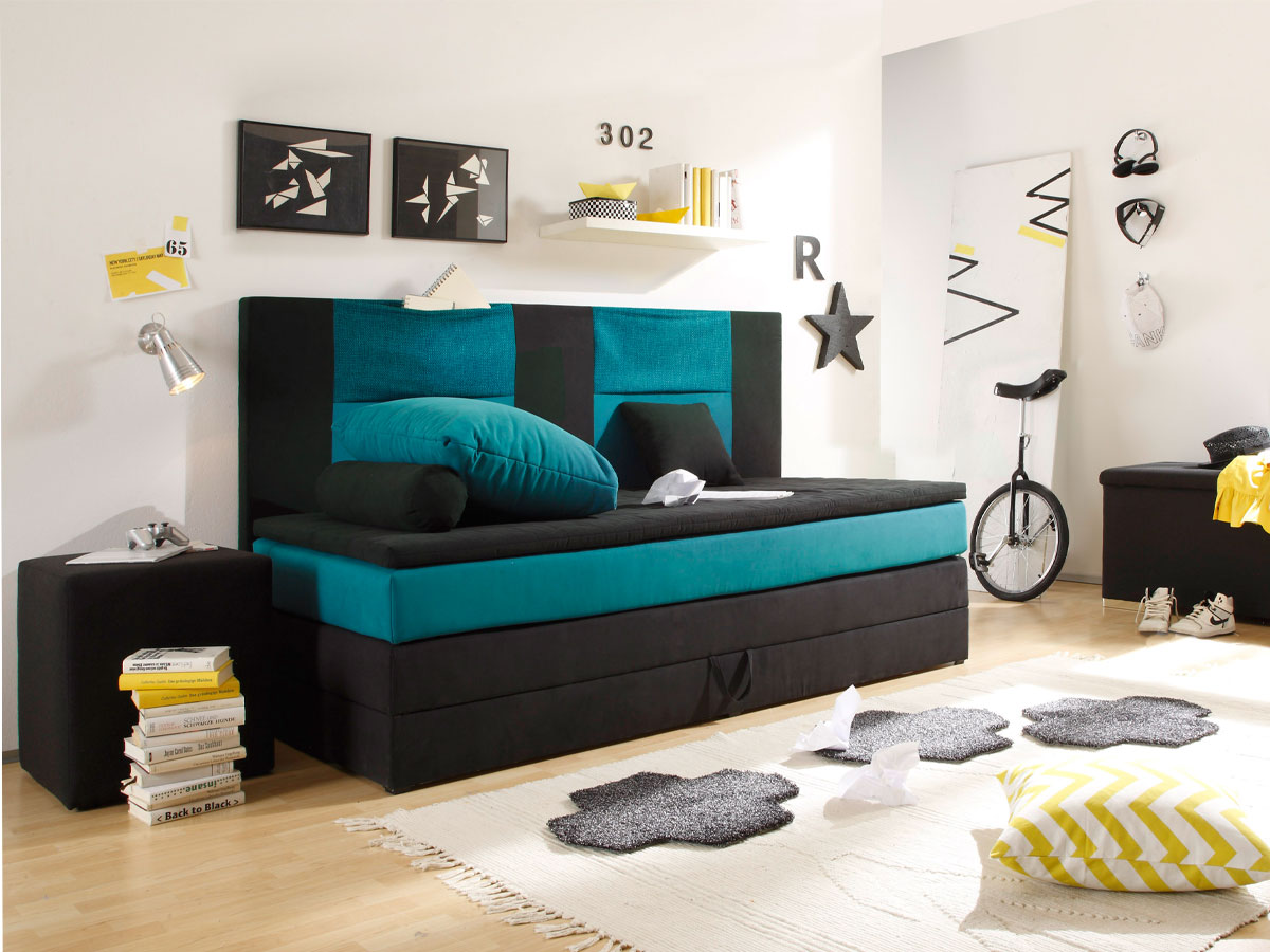 kids boxspringbett 90x200 cm schwarz petrol. Black Bedroom Furniture Sets. Home Design Ideas