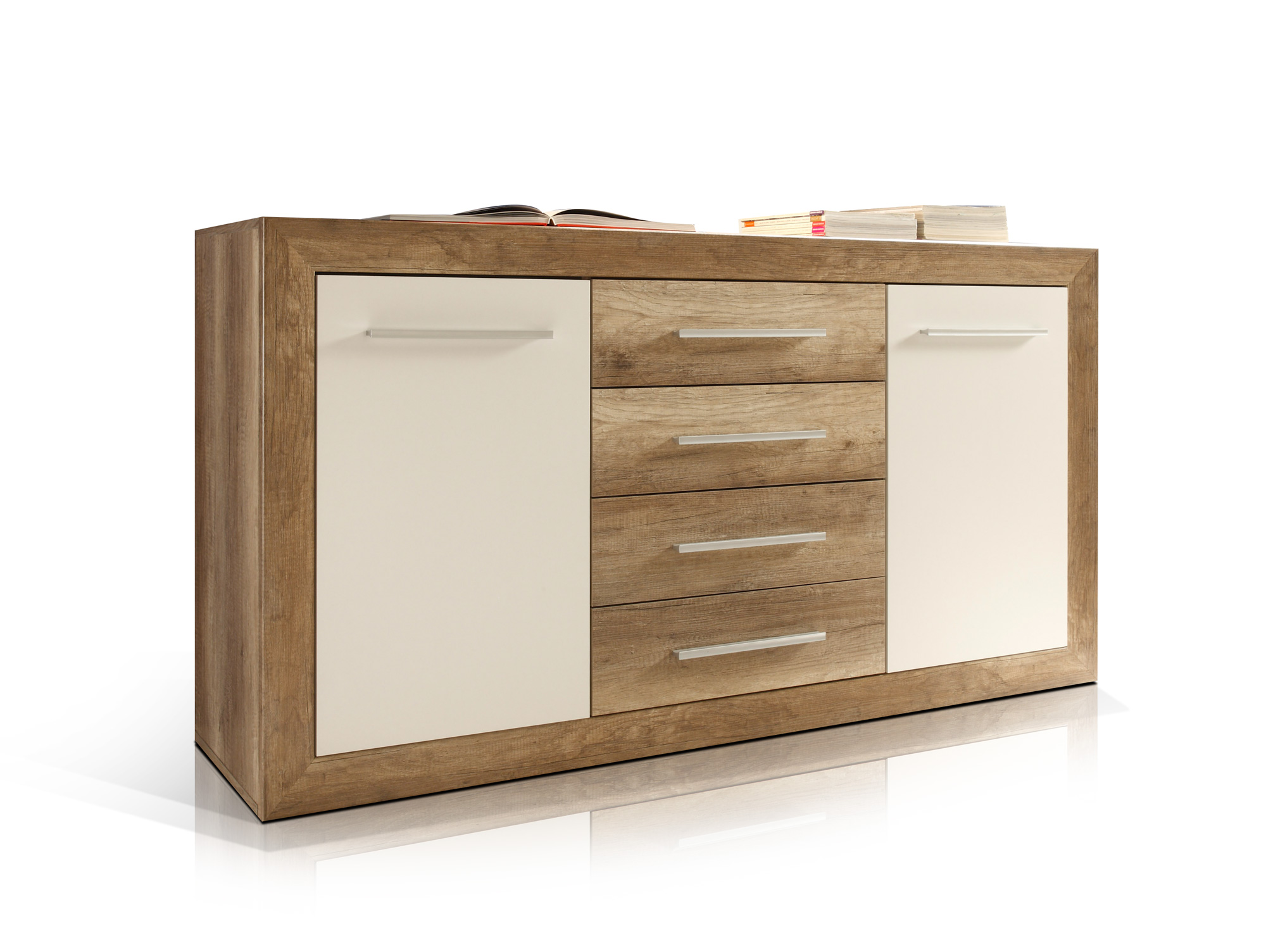 nando kommode canyon oak weiss. Black Bedroom Furniture Sets. Home Design Ideas