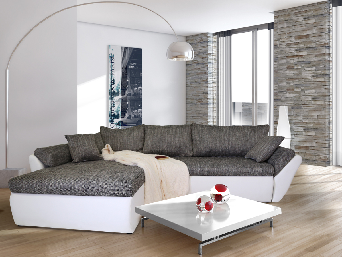 lacie ecksofa eckcouch weiss hellgrau rechts. Black Bedroom Furniture Sets. Home Design Ideas