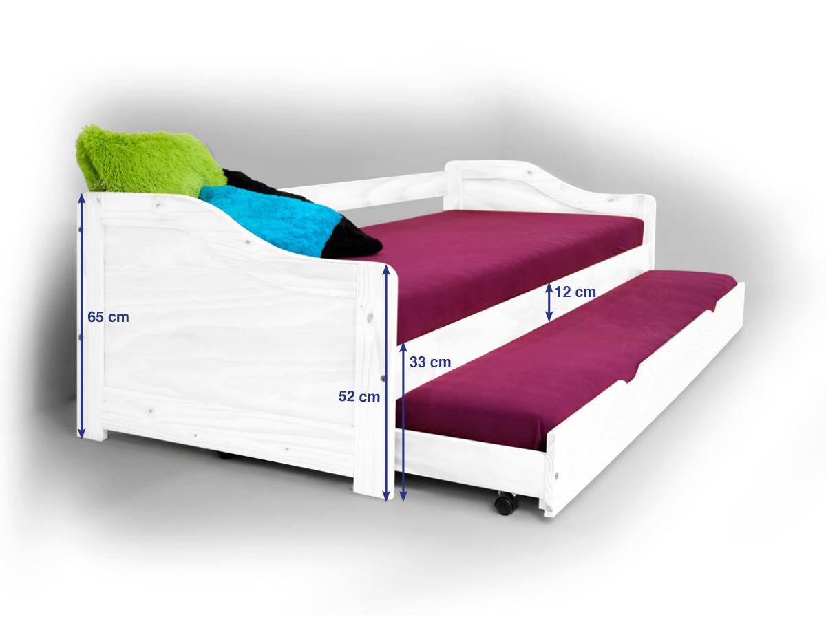 laura tandemliege funktionsbett pinie weiss. Black Bedroom Furniture Sets. Home Design Ideas