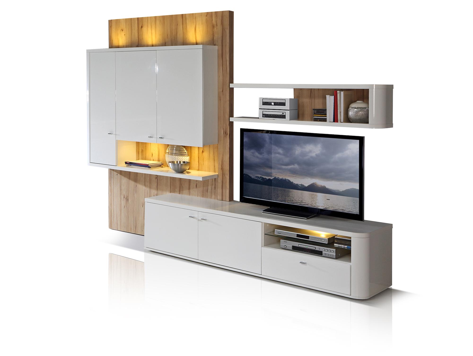 martina wohnwand wei eiche. Black Bedroom Furniture Sets. Home Design Ideas
