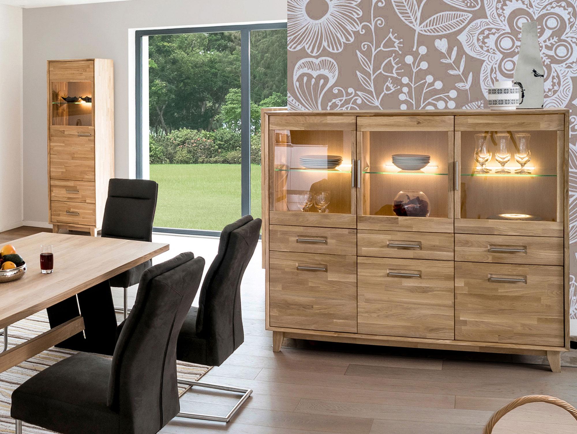 nepal highboard massivholz ge lt eiche. Black Bedroom Furniture Sets. Home Design Ideas