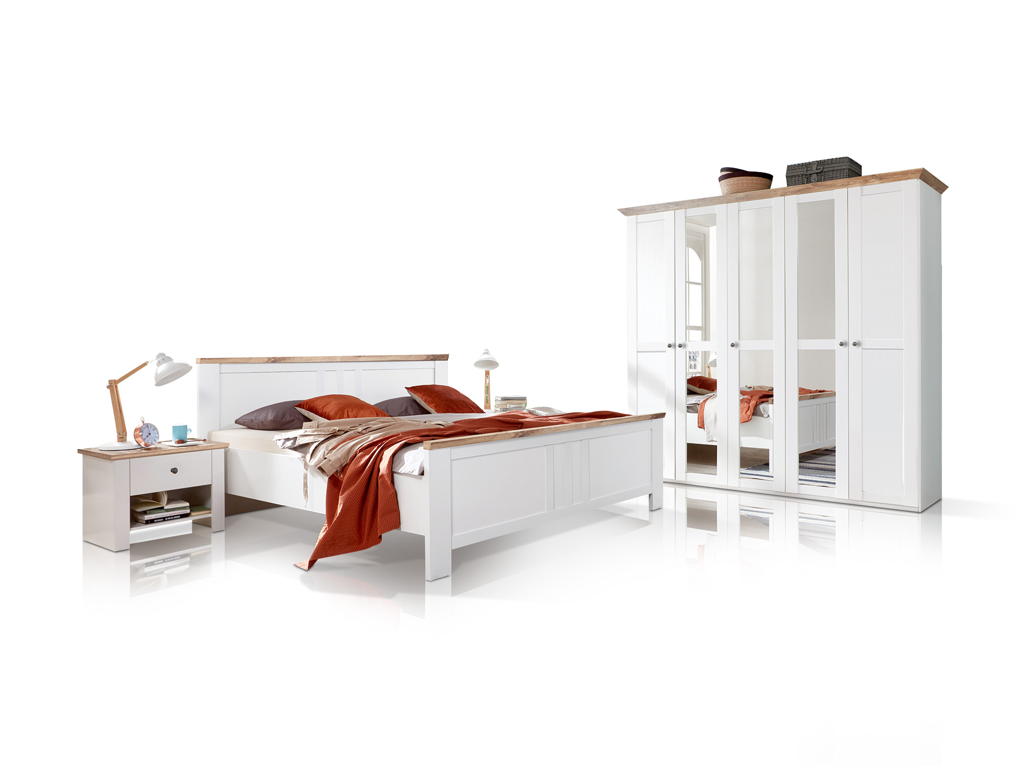 oldenburg komplett schlafzimmer alpinwei plankeneiche 180 cm. Black Bedroom Furniture Sets. Home Design Ideas
