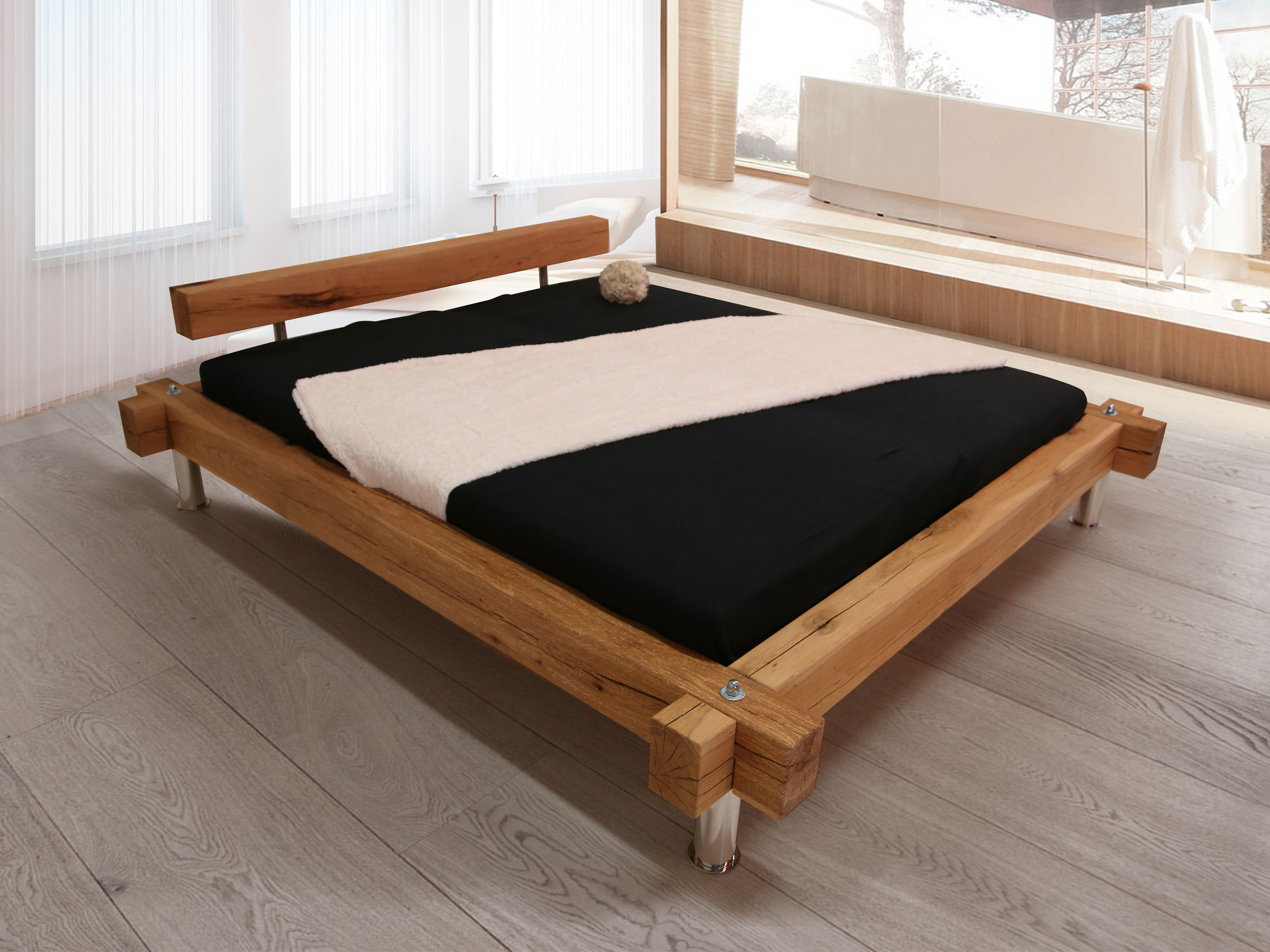 panda doppelbett massivholzbett sumpfeiche ge lt 140 x 200 ge lt duo. Black Bedroom Furniture Sets. Home Design Ideas
