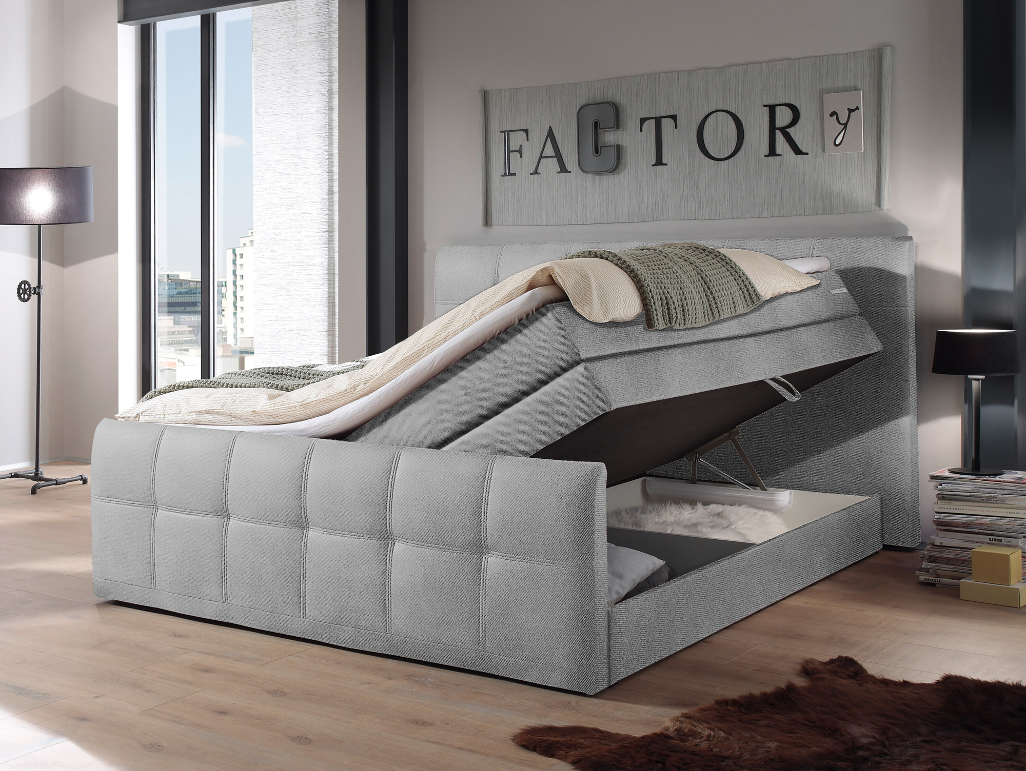 samara boxspringbett 180x200 cm grau. Black Bedroom Furniture Sets. Home Design Ideas