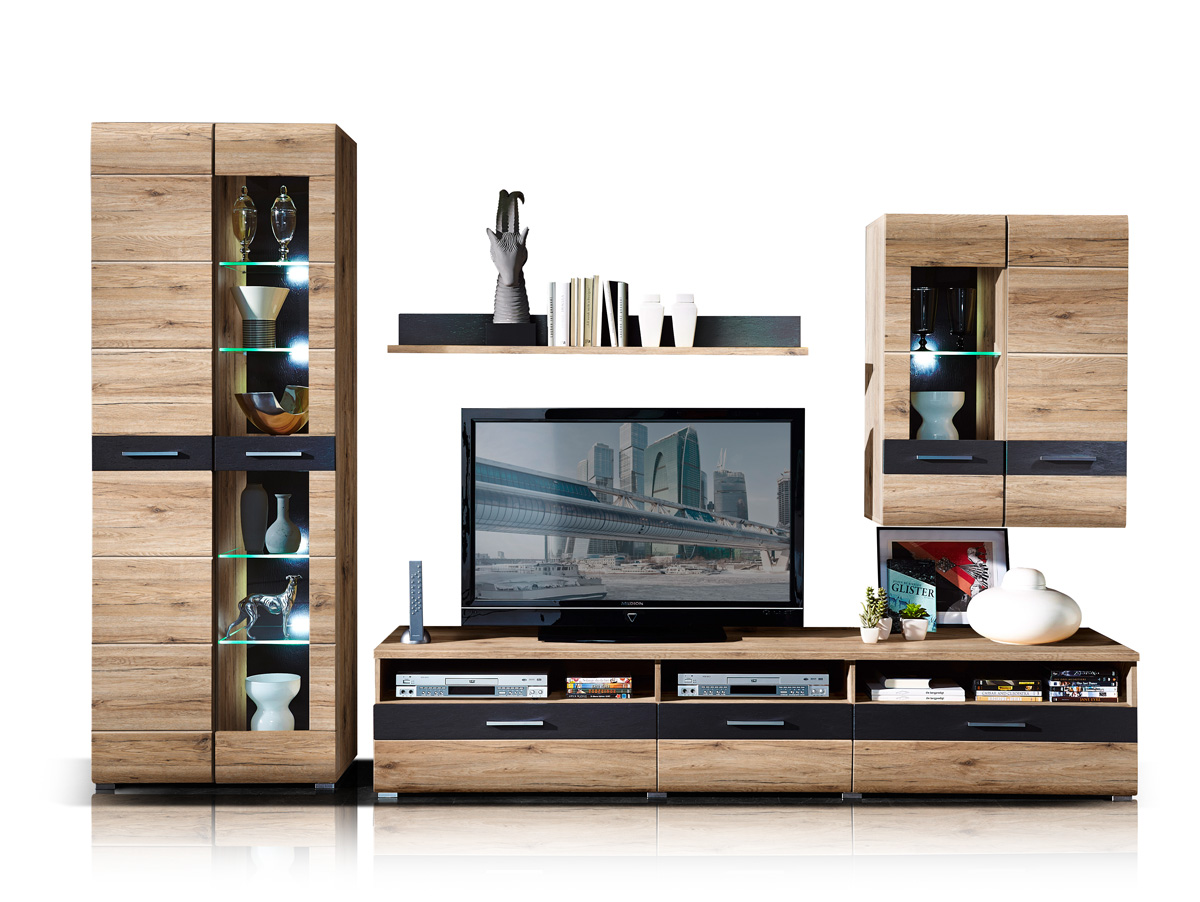 sancho ii wohnwand san remo eiche hell schiefer. Black Bedroom Furniture Sets. Home Design Ideas