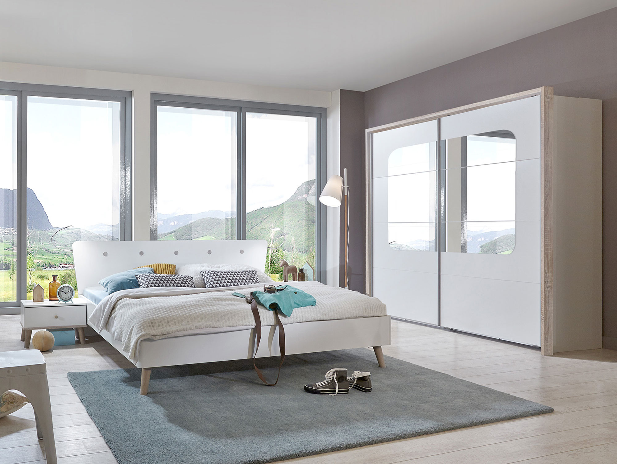 batida futonbett 140 x 200 cm weiss eiche s gerau dekor. Black Bedroom Furniture Sets. Home Design Ideas