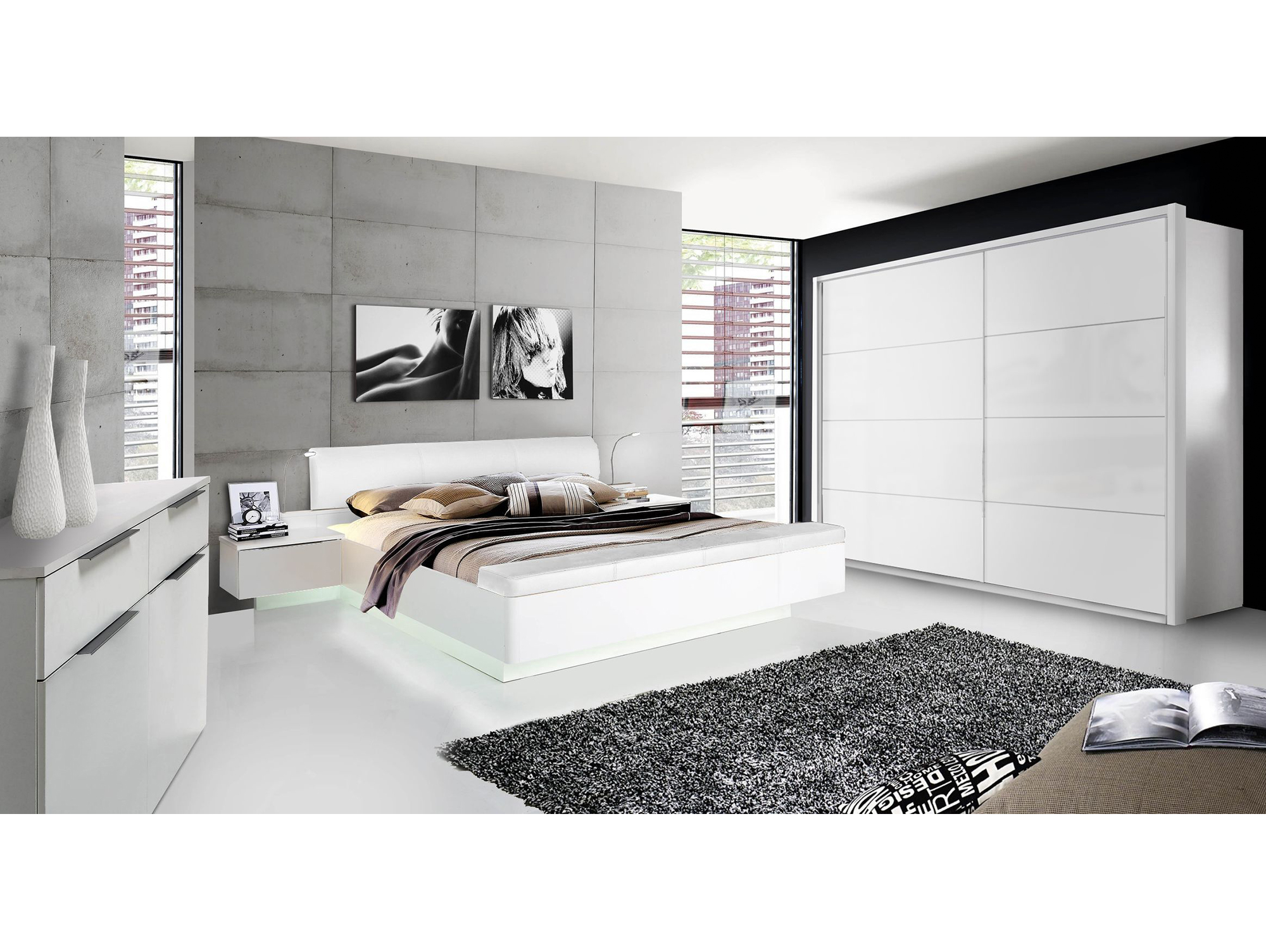silent schwebet renschrank weiss hochglanz 270 cm. Black Bedroom Furniture Sets. Home Design Ideas