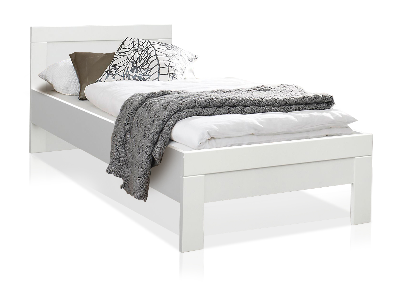 snowy jugendbett weiss inklusive kopfteil 90x 200 cm. Black Bedroom Furniture Sets. Home Design Ideas