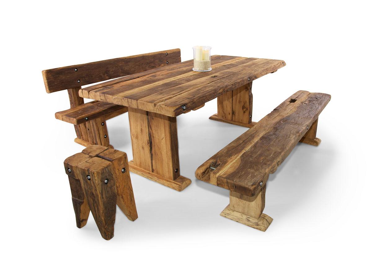 wikinger sitzbank massivholzsitzbank mit lehne 160 cm unbehandelt. Black Bedroom Furniture Sets. Home Design Ideas